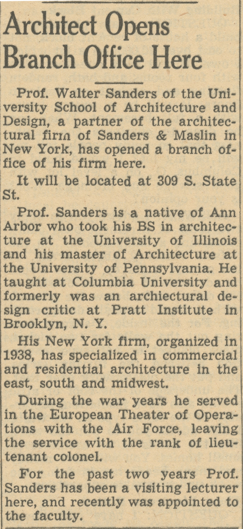 Architect Opens Branch Office Here image