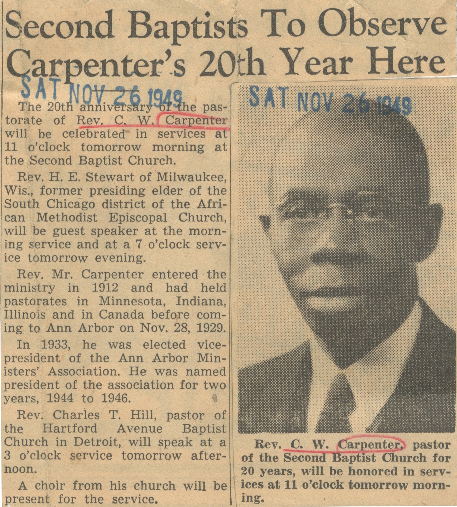 Second Baptists To Observe Carpenter's 20th Year Here image