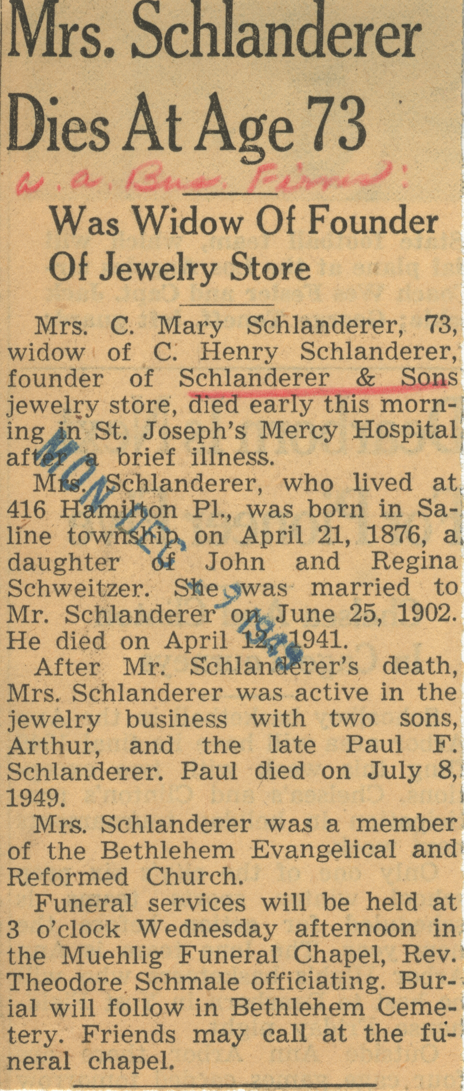 Mrs. Schlanderer Dies At Age 73 image