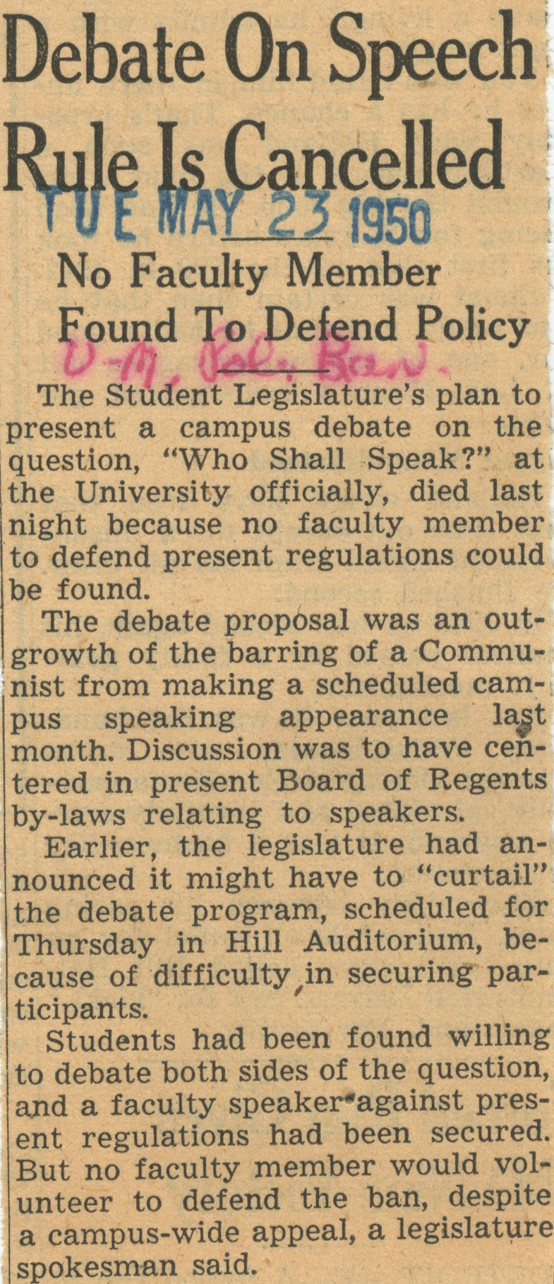 Debate On Speech Rule Is Cancelled: No Faculty Member Found To Defend Policy image
