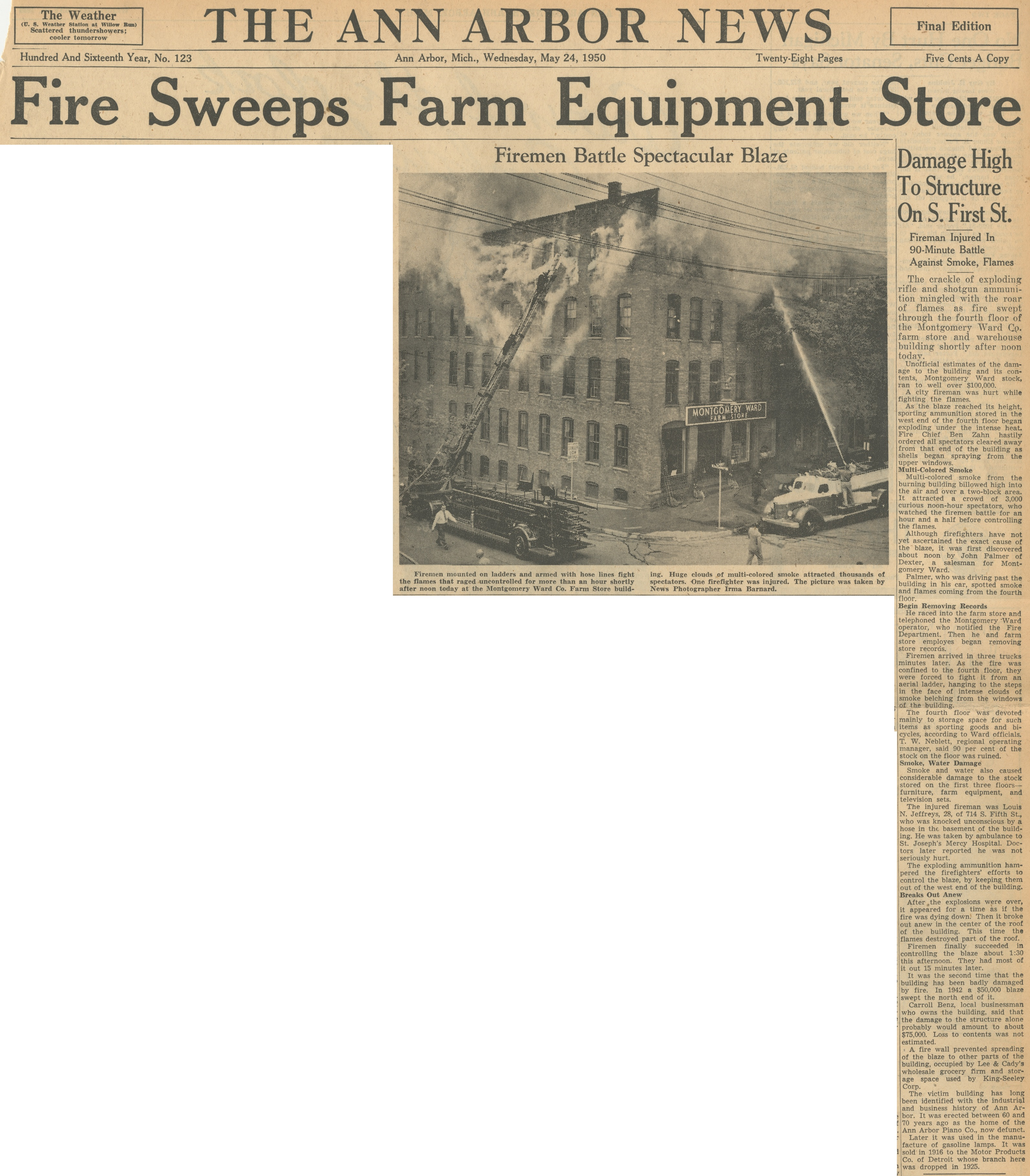 Fire Sweeps Farm Equipment Store image