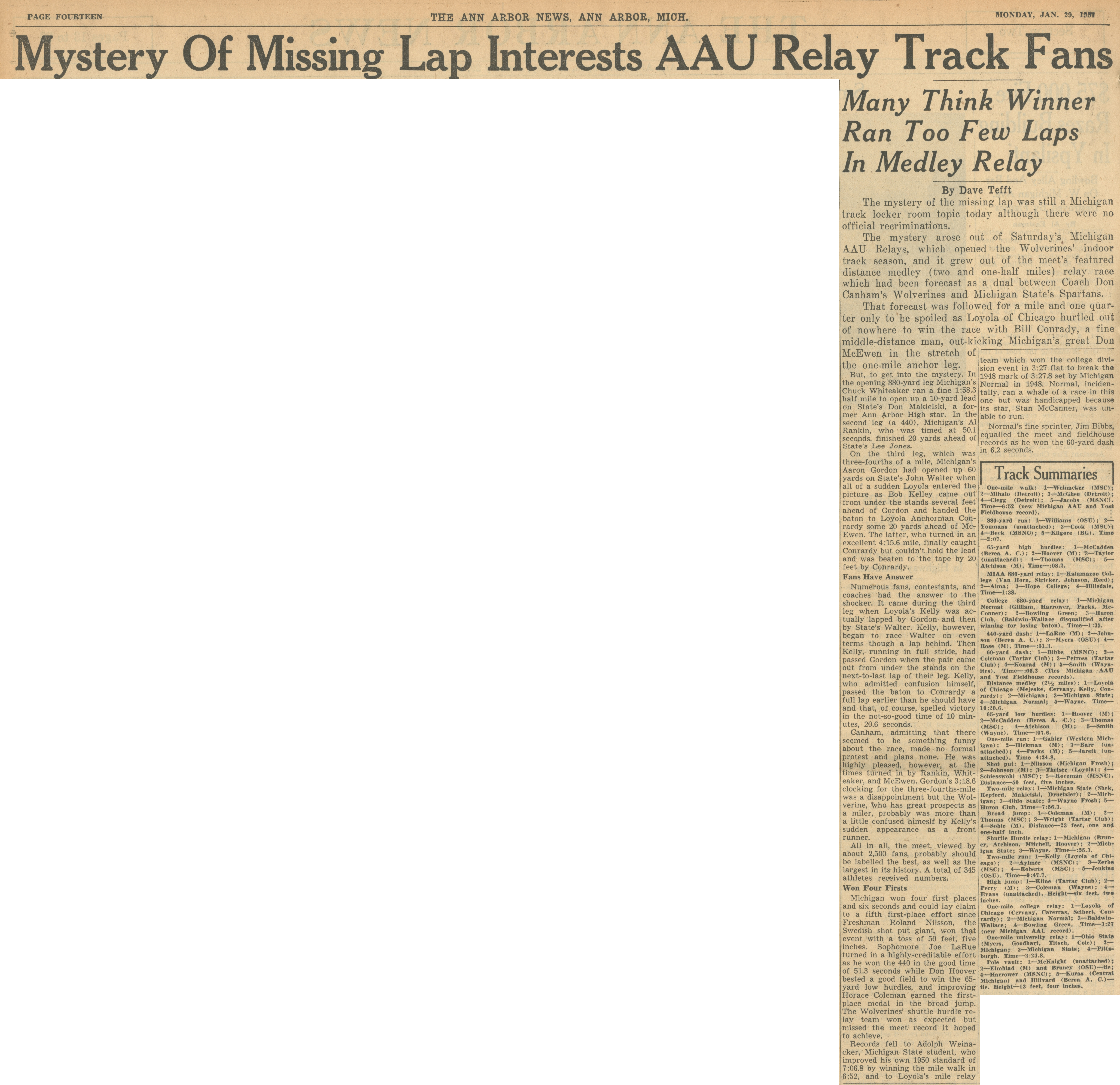 Mystery Of Missing Lap Interests AAU Relay Track Fans image