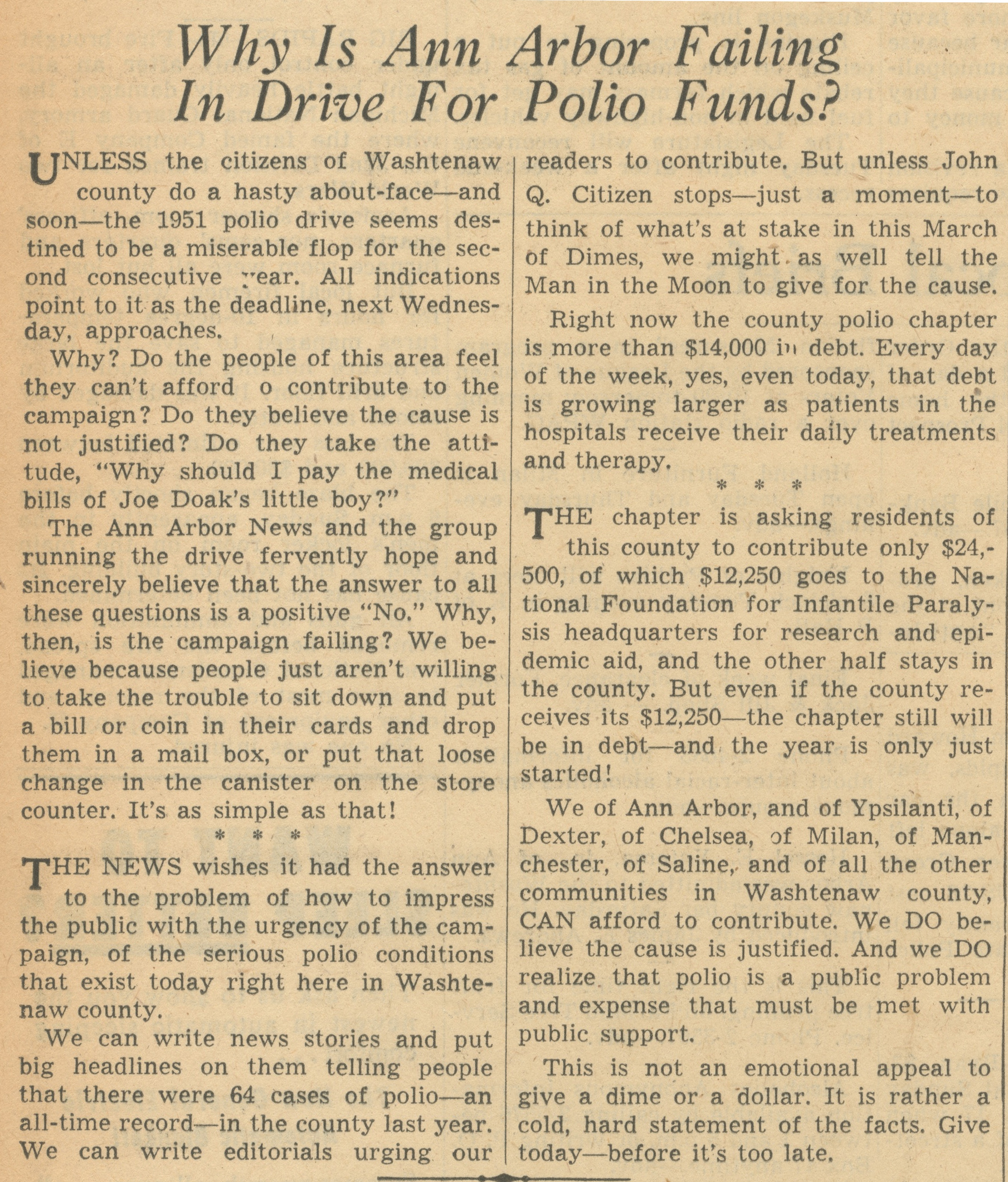 Why Is Ann Arbor Failing In Drive For Polio Funds? image
