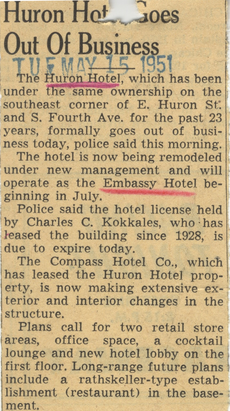 Huron Hotel Goes Out Of Business image