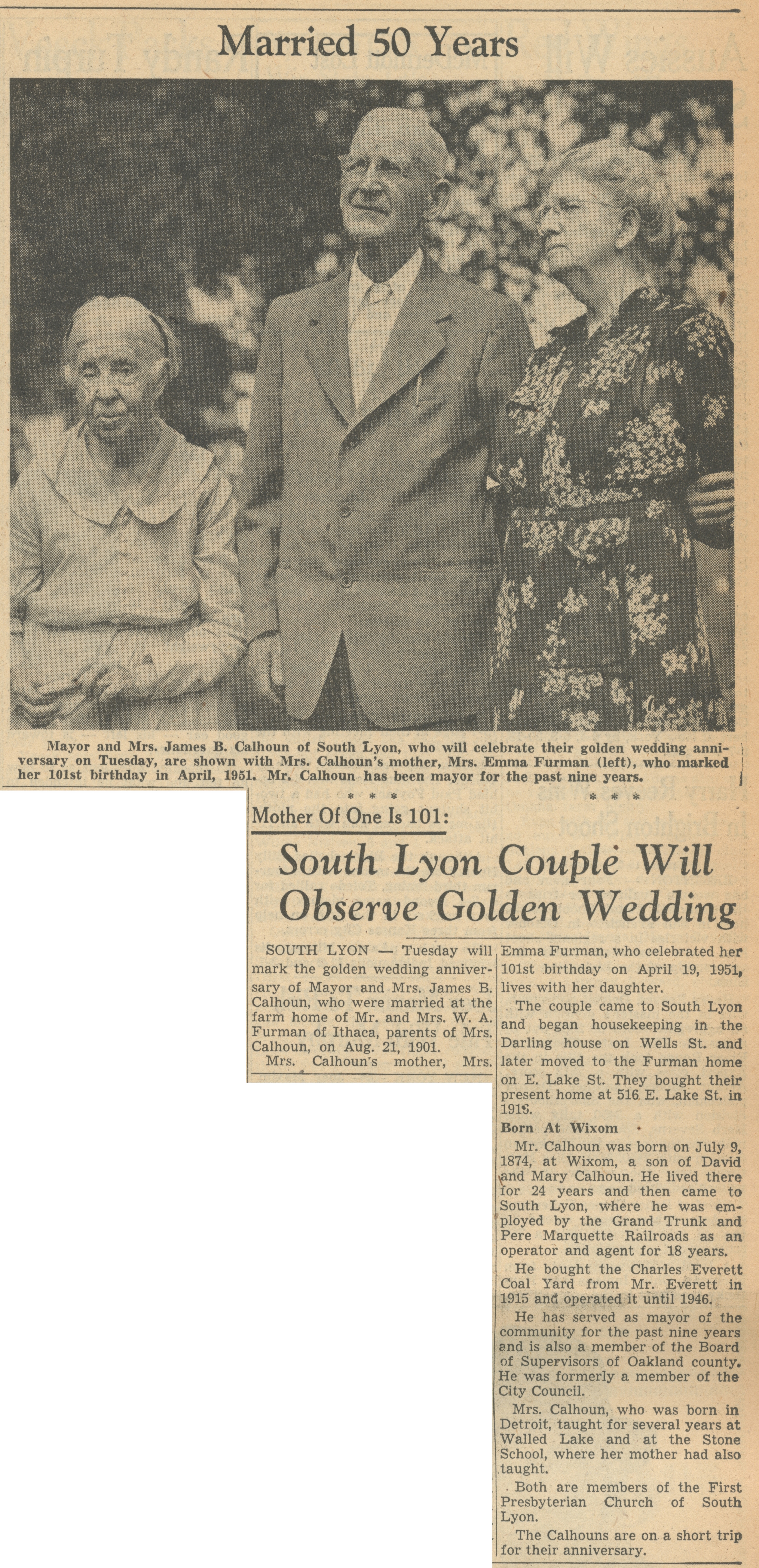 South Lyon Couple Will Observe Golden Wedding image