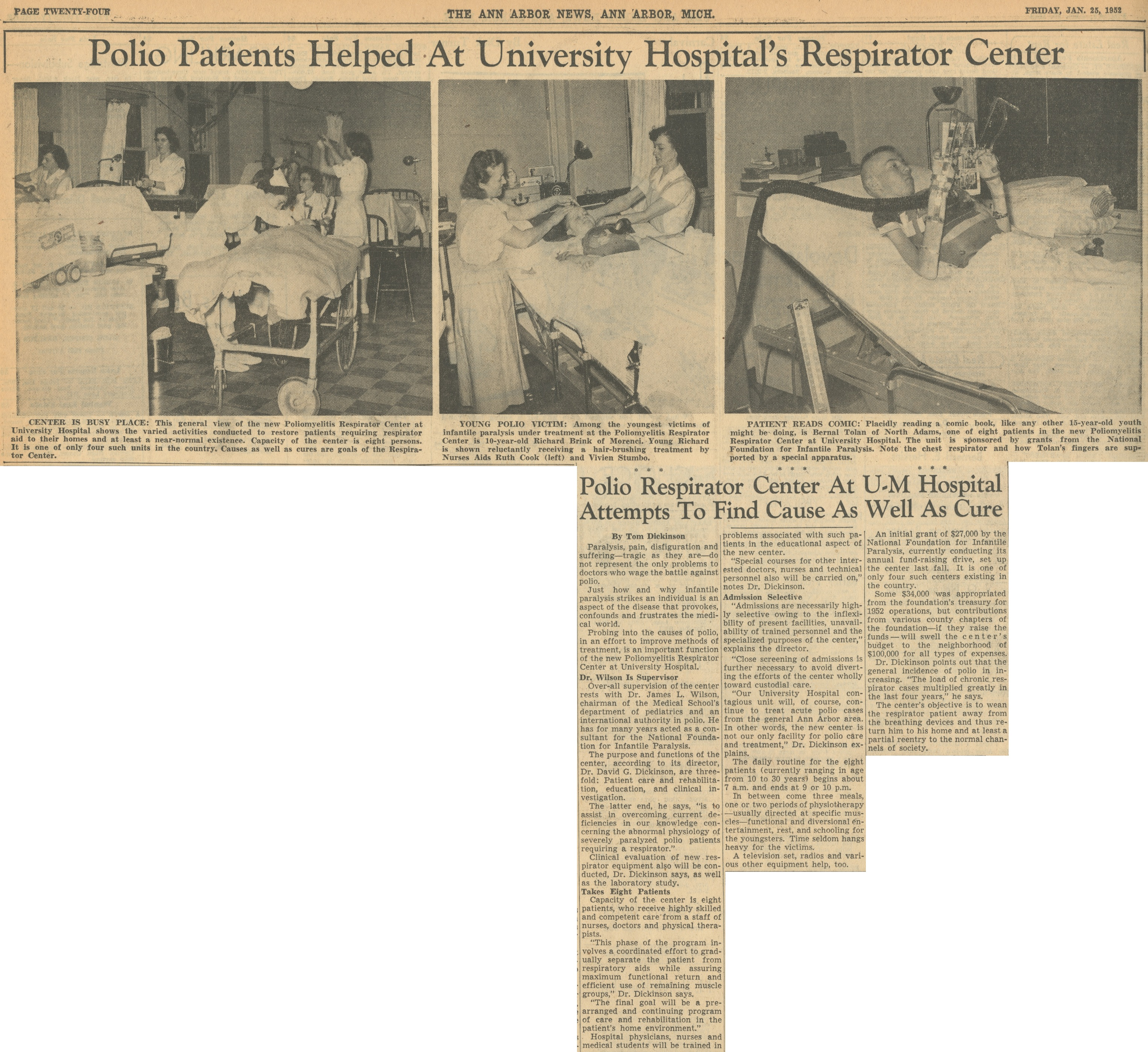 Polio Patients Helped At University Hospital's Respirator Center image