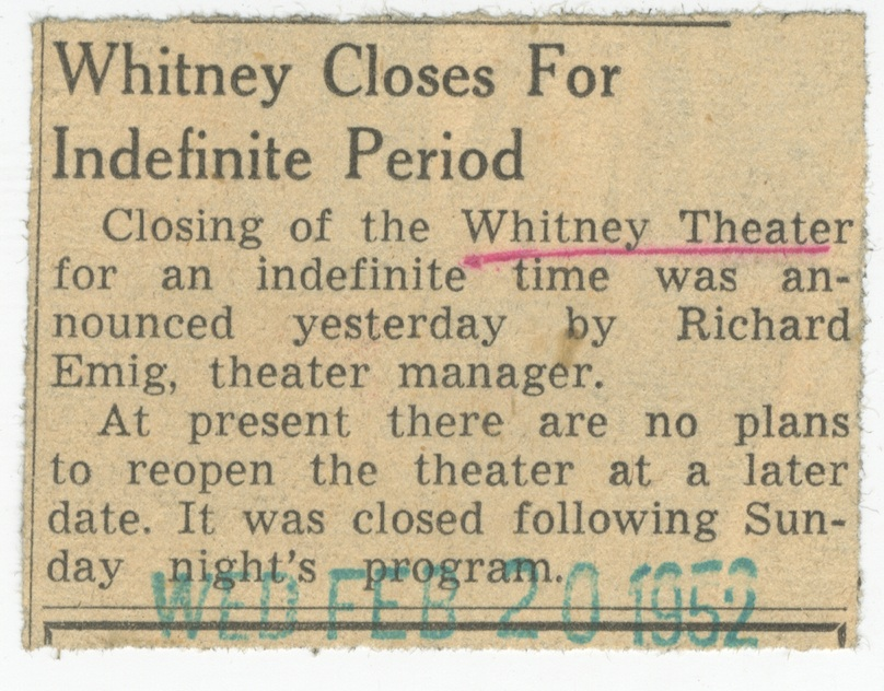 Whitney Closes For Indefinite Period image