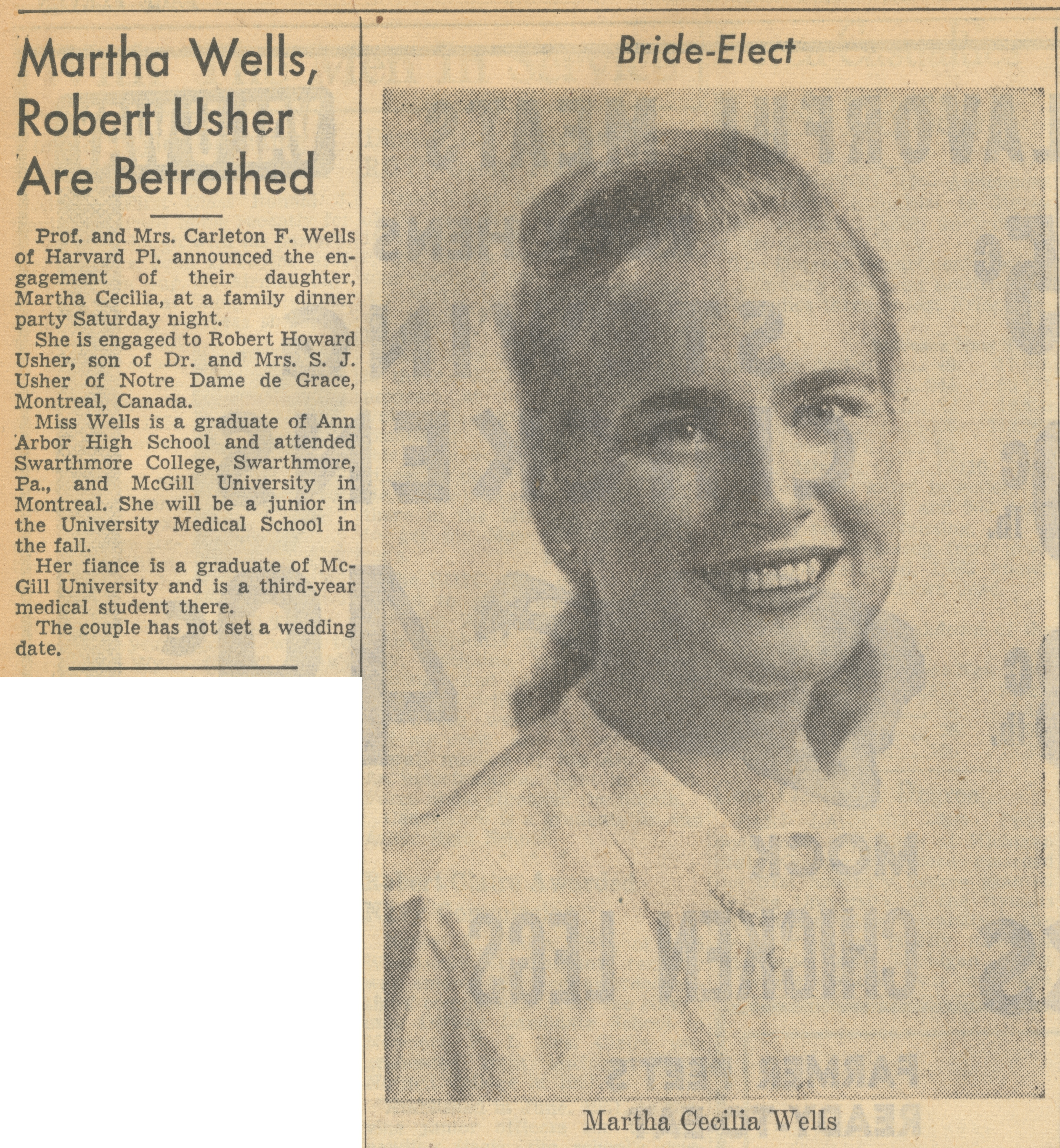 Martha Wells, Robert Usher Are Betrothed image
