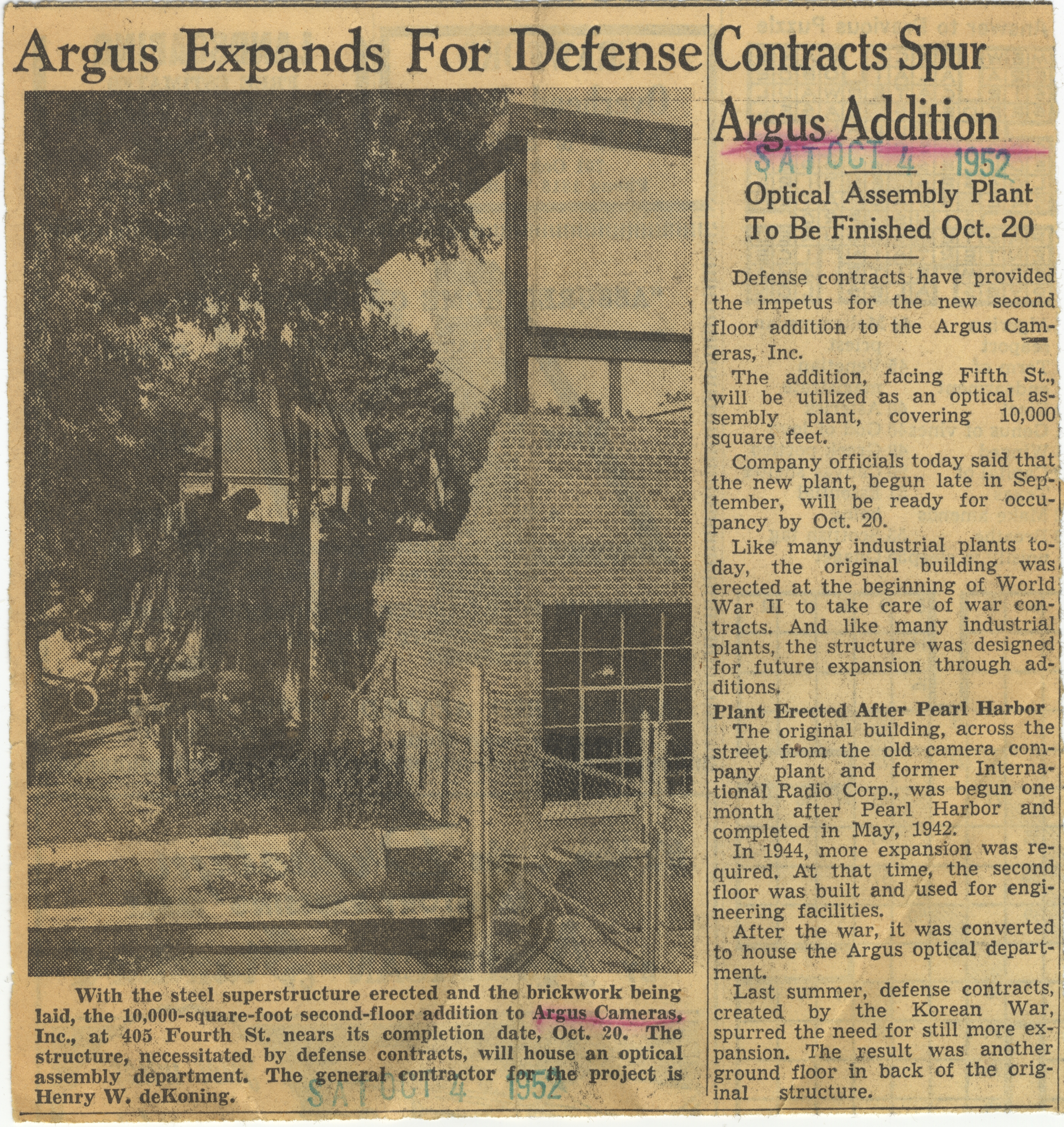 Argus Expands For Defense Contracts Spur Argus Addition image