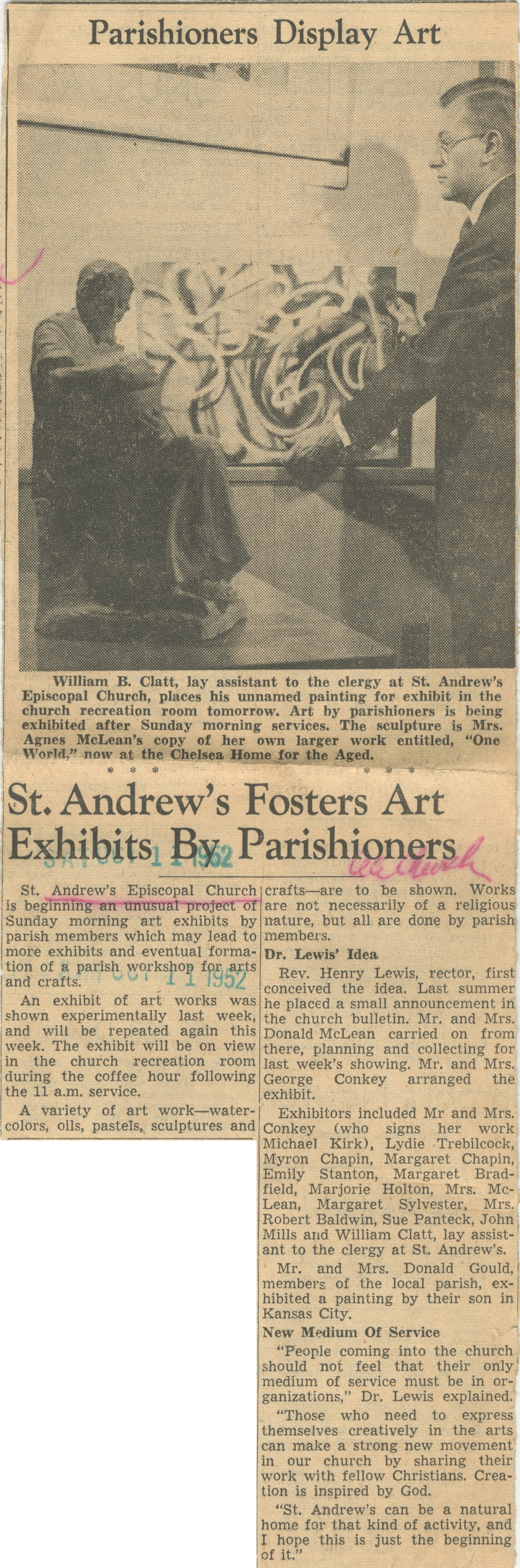 St. Andrew's Fosters Art Exhibits By Parishioners image
