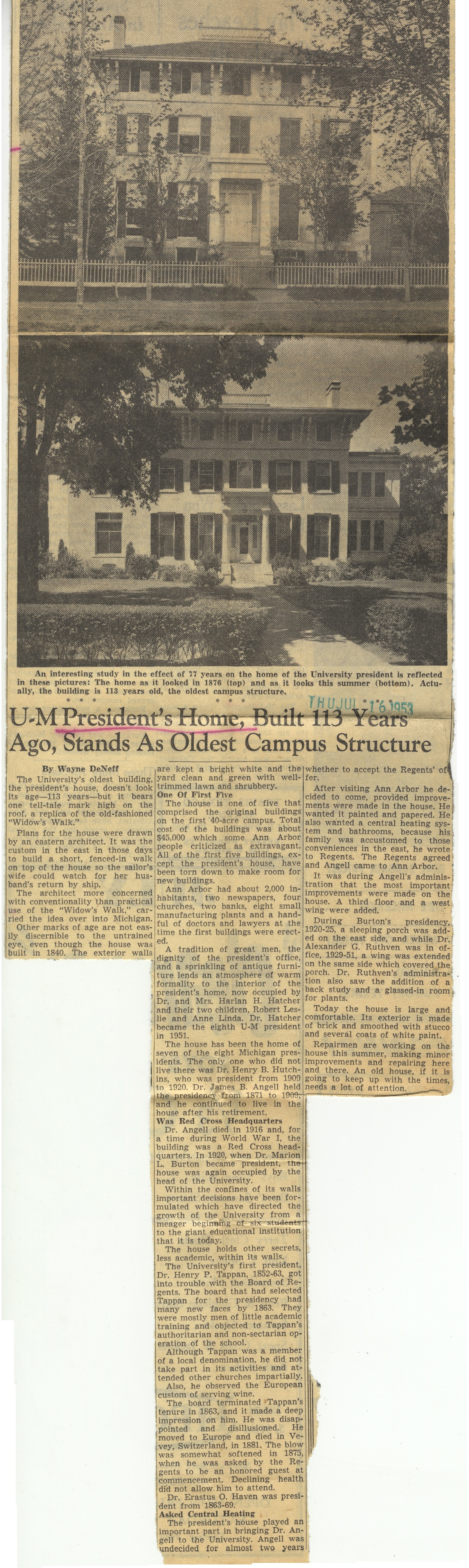 U-M President's Home, Built 113 Years Ago, Stands As Oldest Campus Structure image