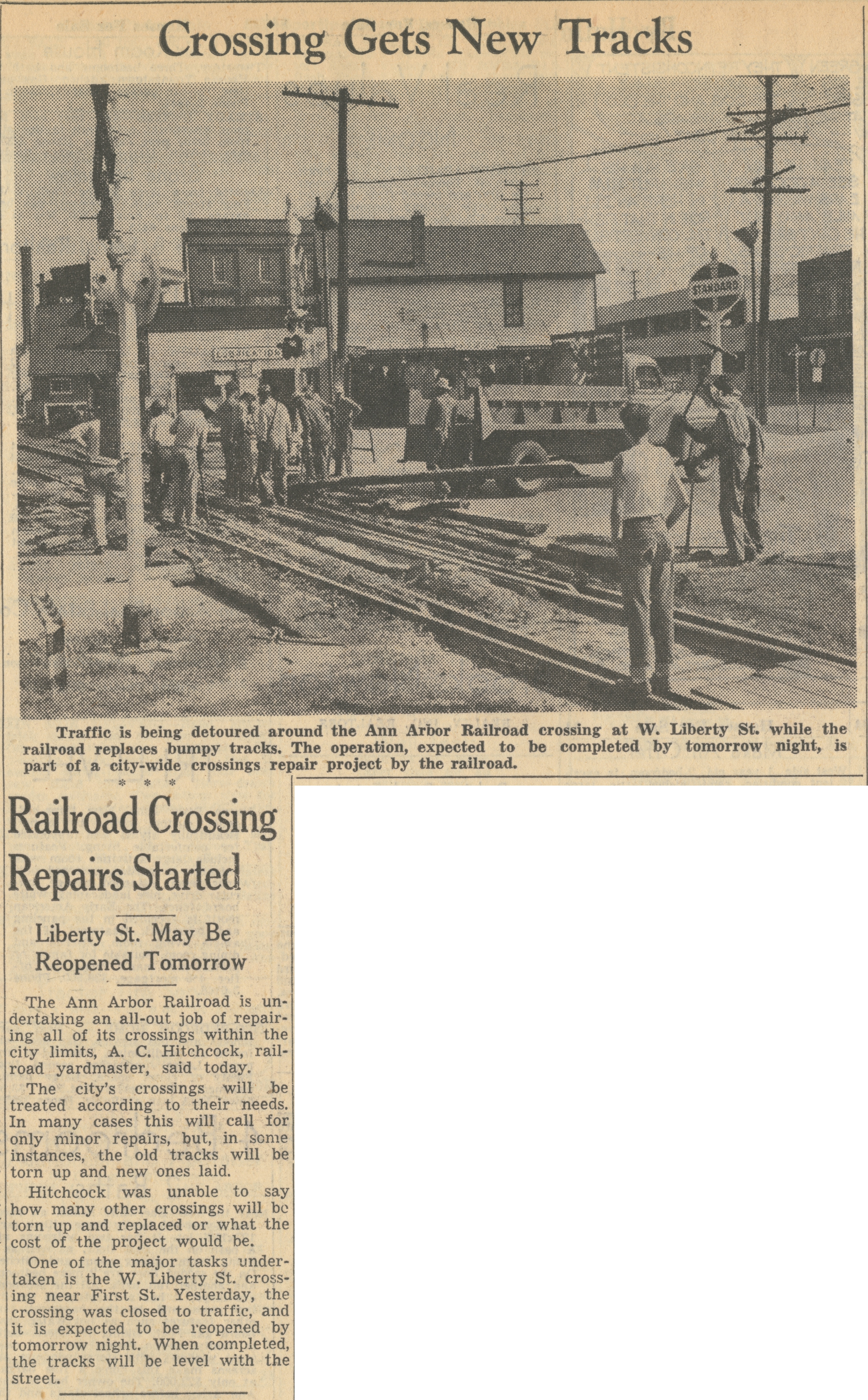 Railroad Crossing Repairs Started   Ann Arbor District Library