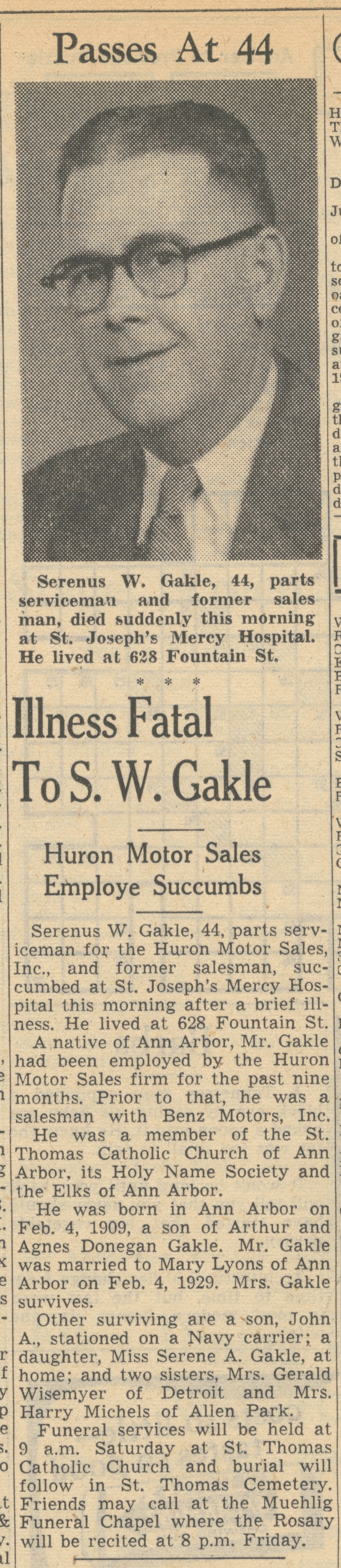 Illness Fatal To S. W. Gakle image