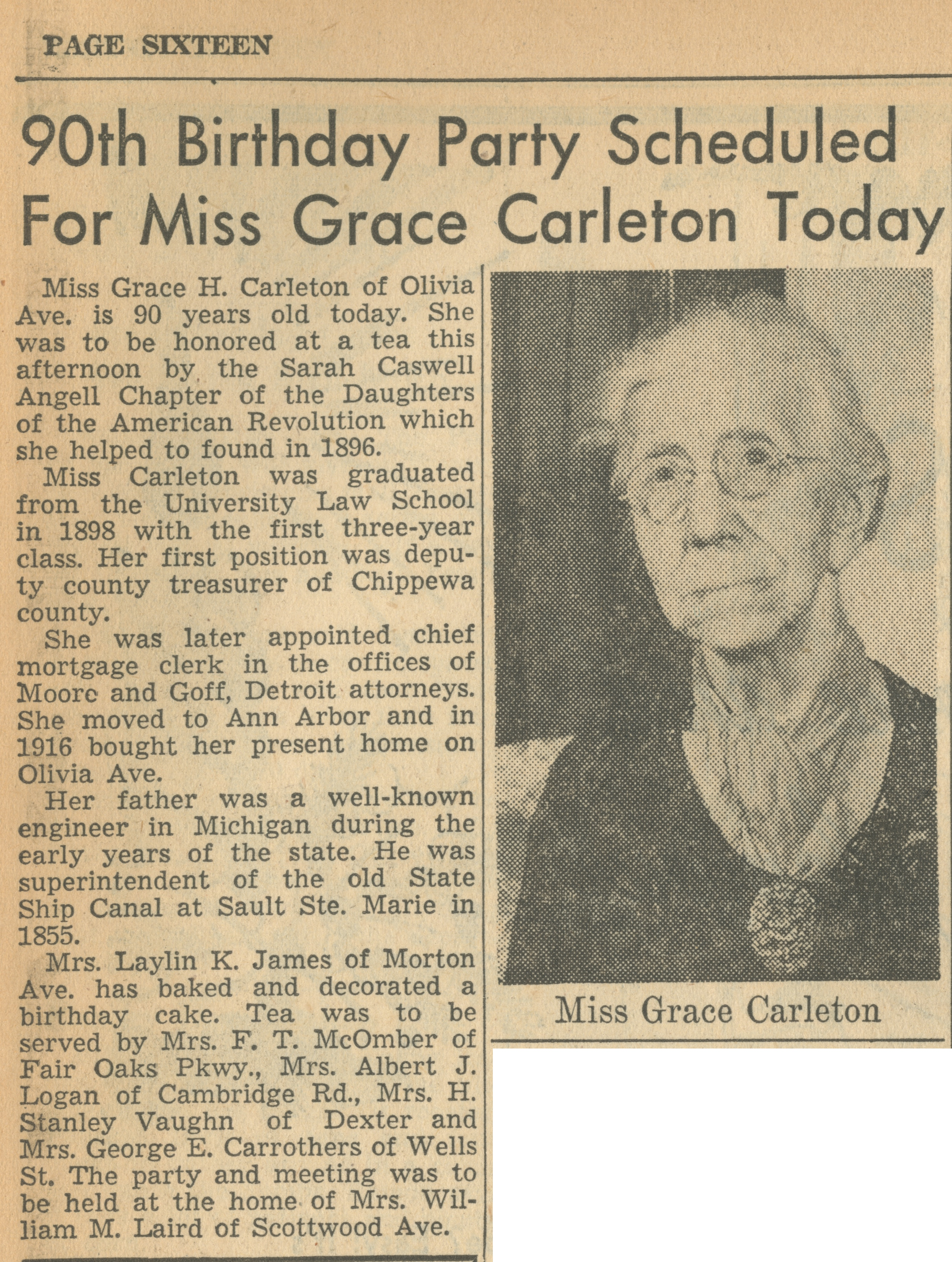90th Birthday Party Scheduled For Miss Grace Carleton Today image