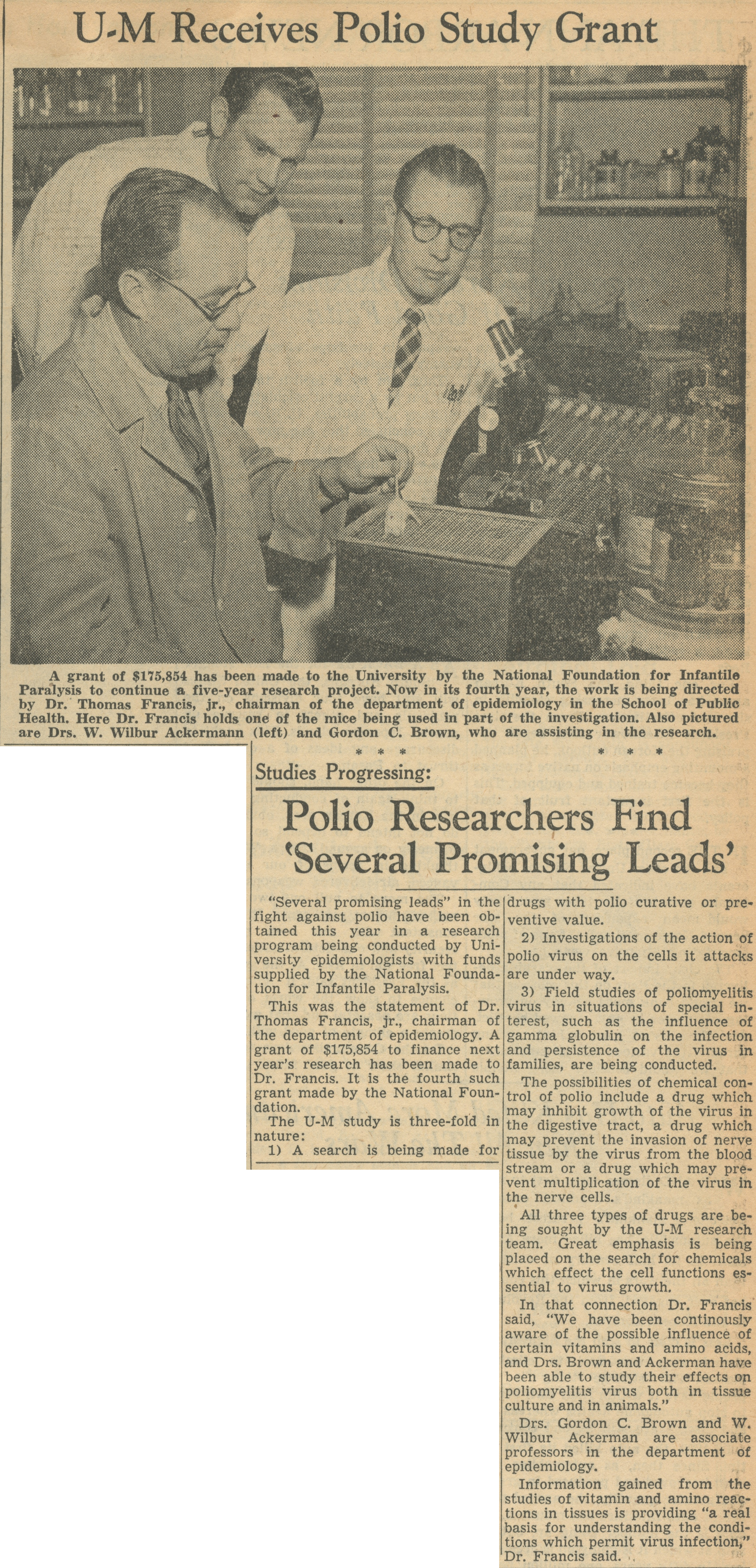 Studies Progressing: Polio Researchers Find 'Several Promising Leads' image