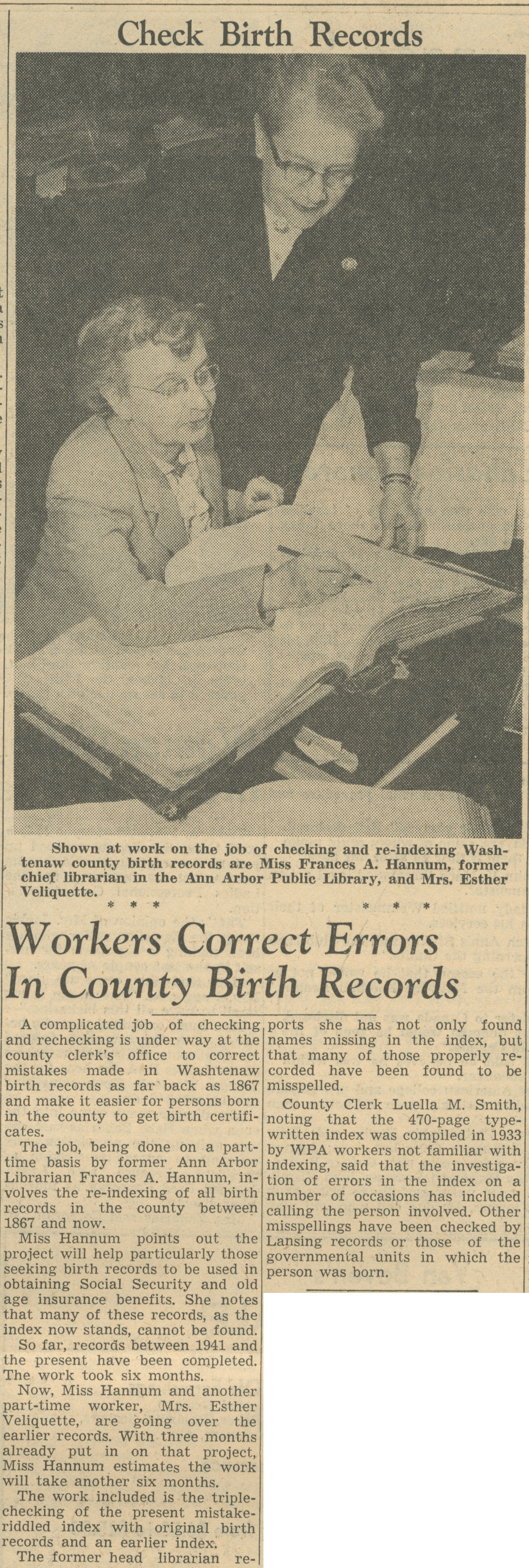 Workers Correct Errors In County Birth Records image