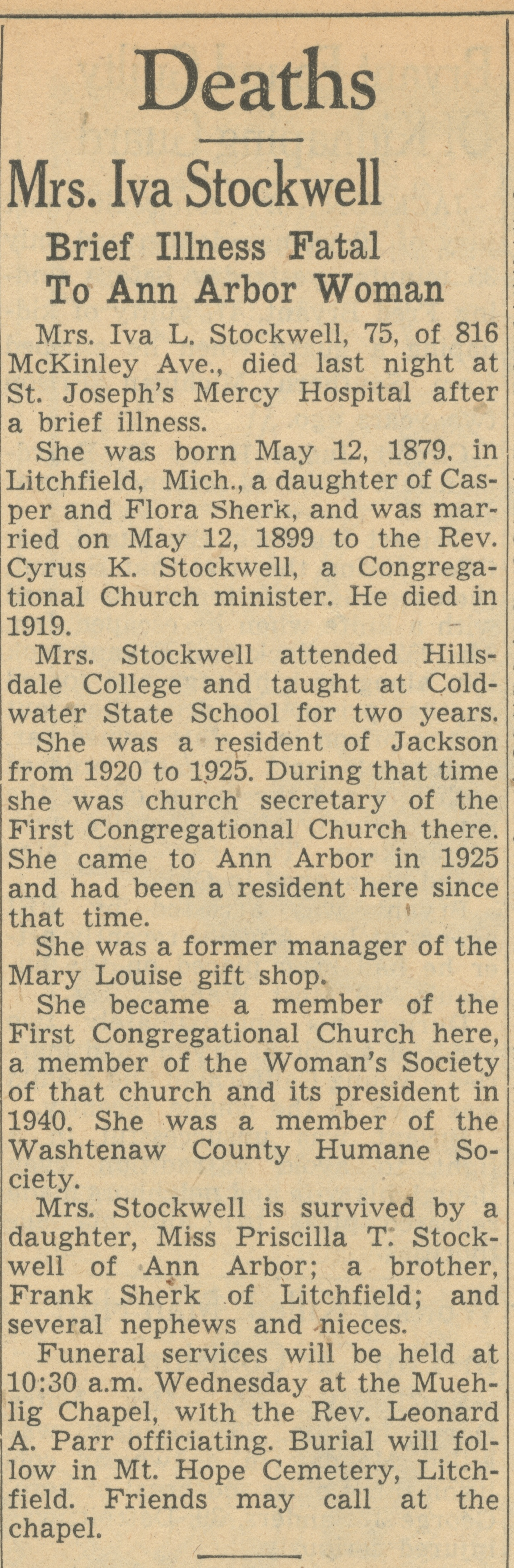 Mrs. Iva Stockwell image