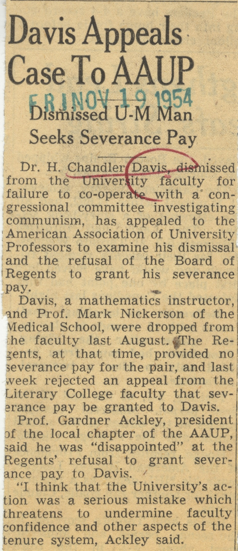 Davis Appeals Case To AAUP image