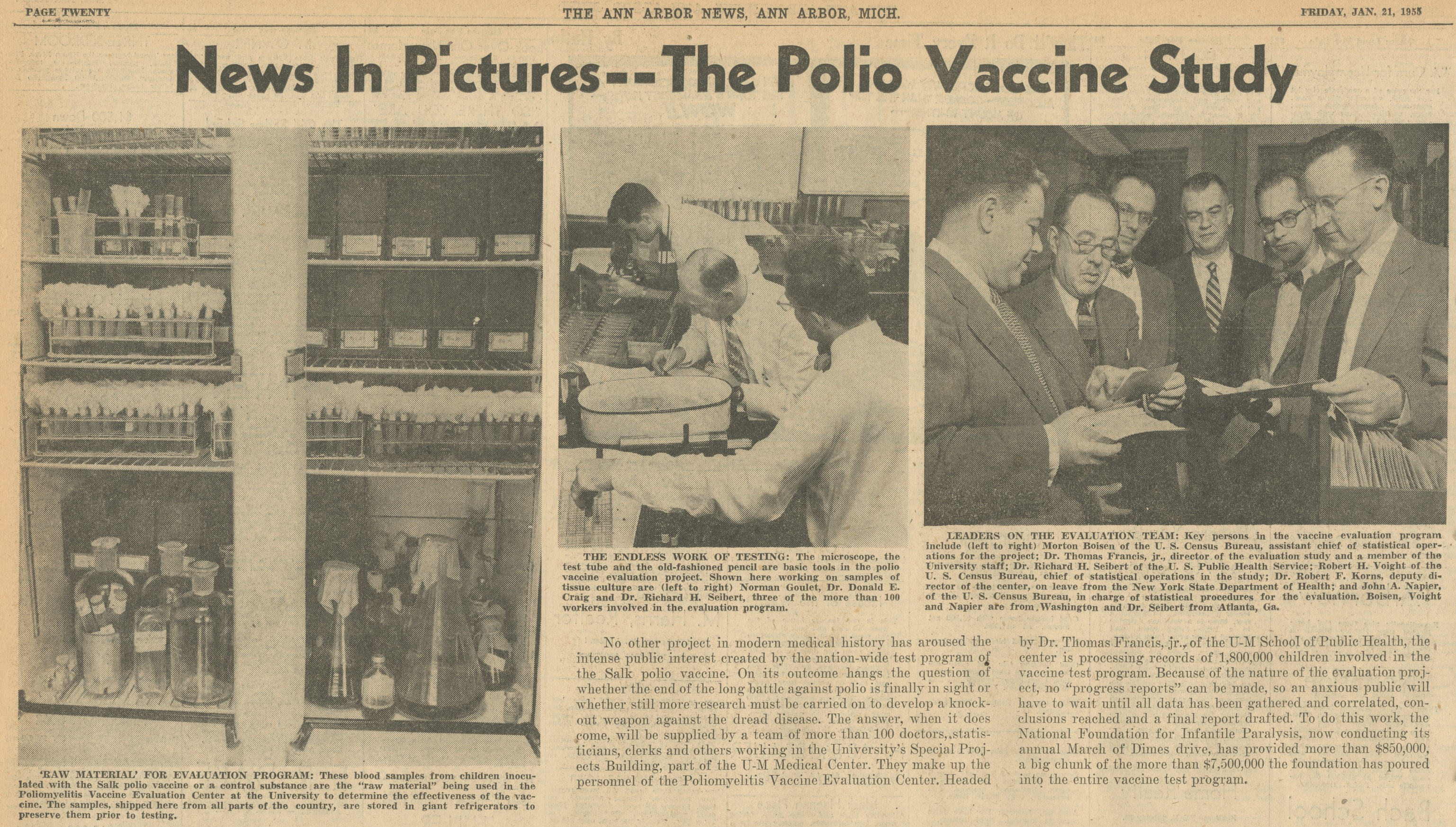 News In Pictures -- The Polio Vaccine Study image