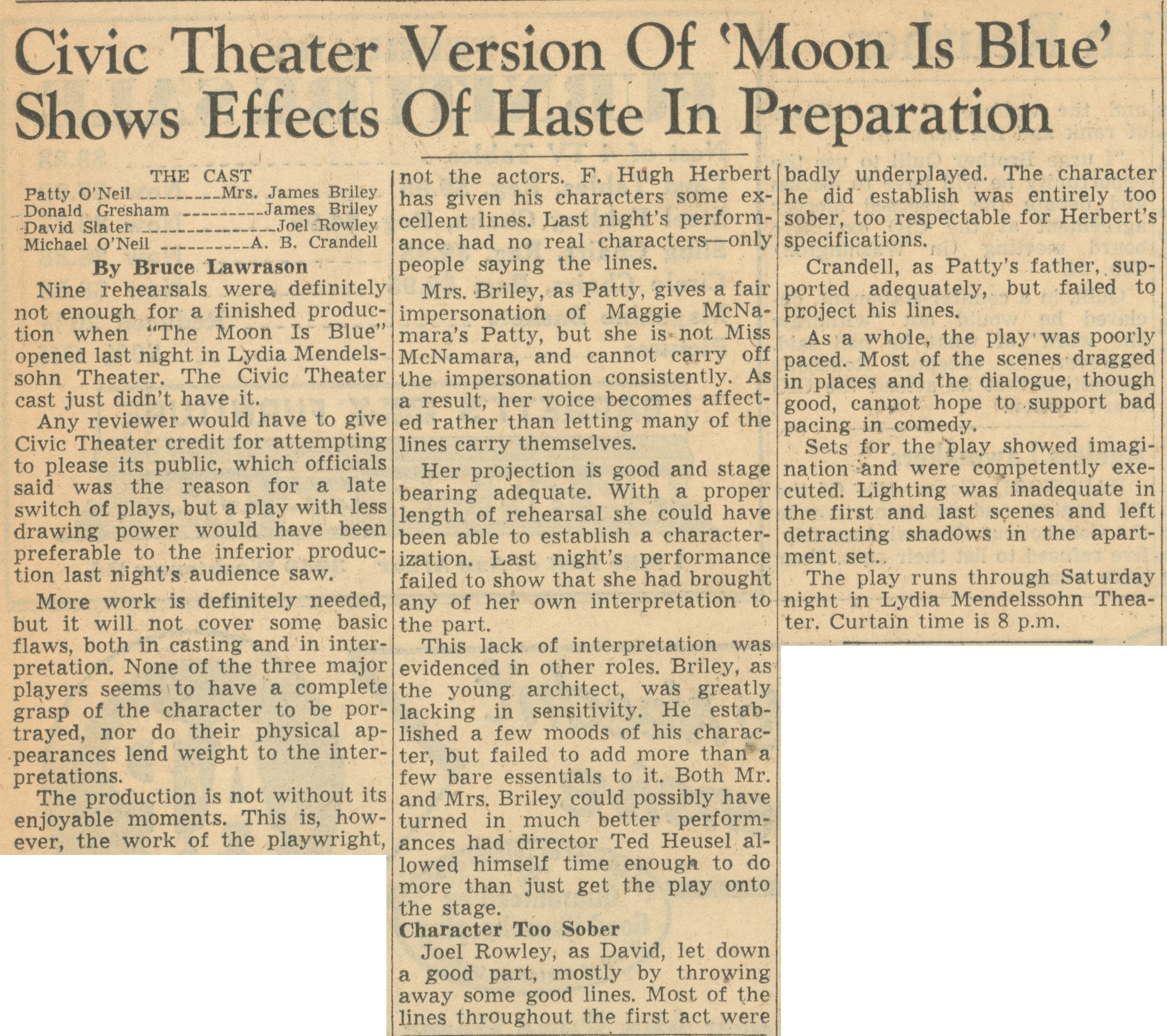 Civic Theater Version Of 'Moon Is Blue' Shows Effects Of Haste In Preparation image