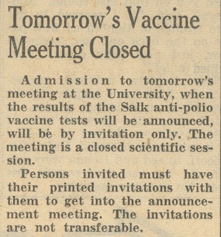 Tomorrow's Vaccine Meeting Closed image