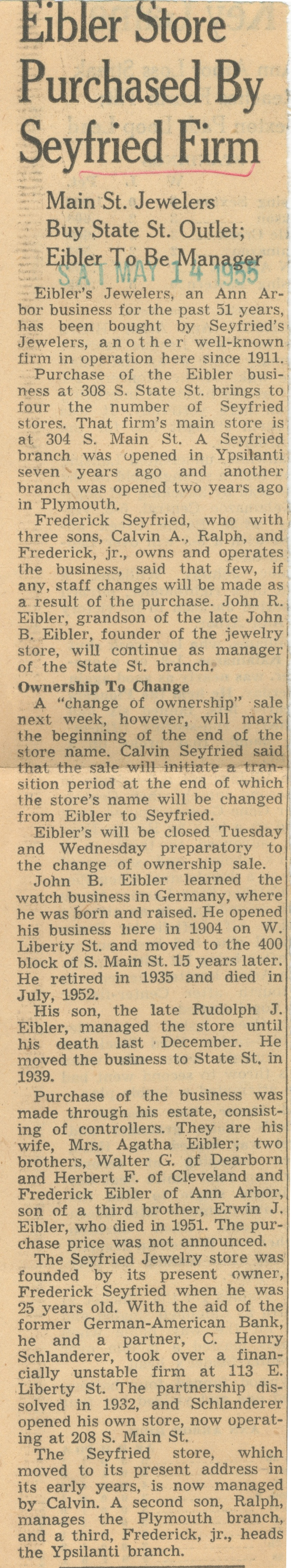 Eibler Store Purchased By Seyfried Firm - Main St. Jewelers Buy State St. Outlet; Eibler To Be Manager image