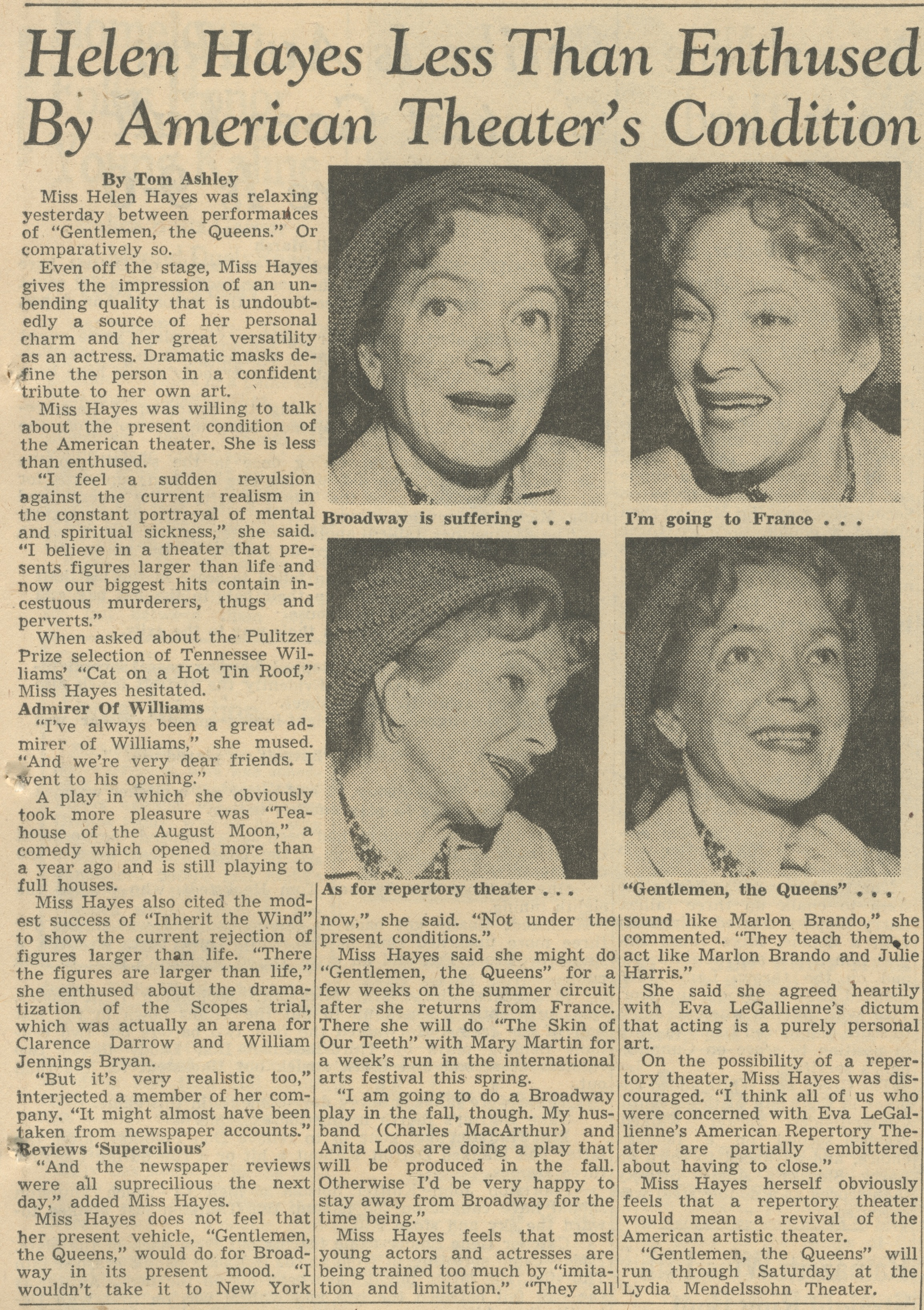 Helen Hayes Less Than Enthused By American Theater's Condition image