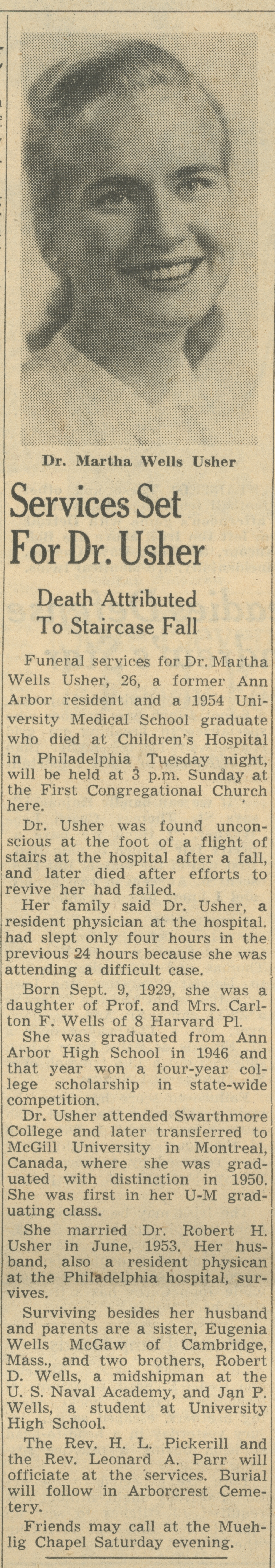 Services Set For Dr. Usher image