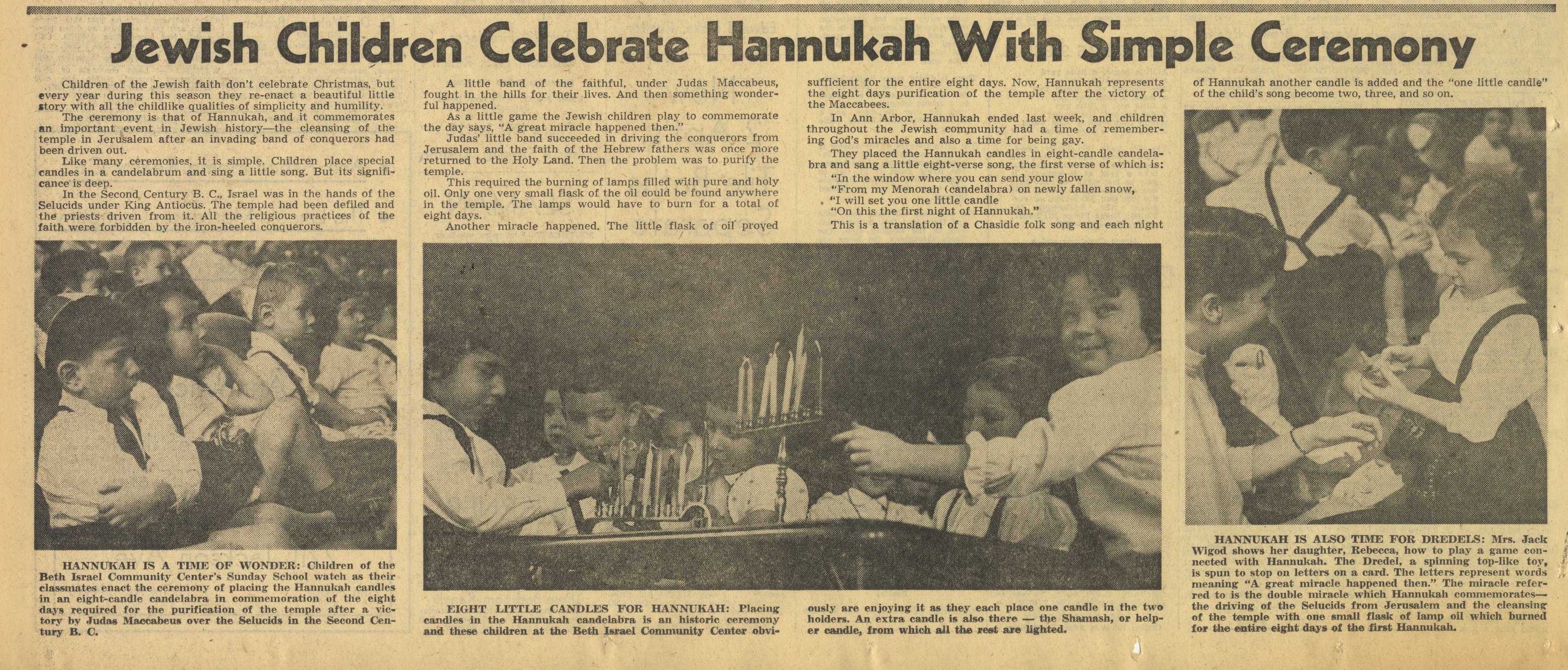 Jewish Children Celebrate Hannukah With Simple Ceremony image