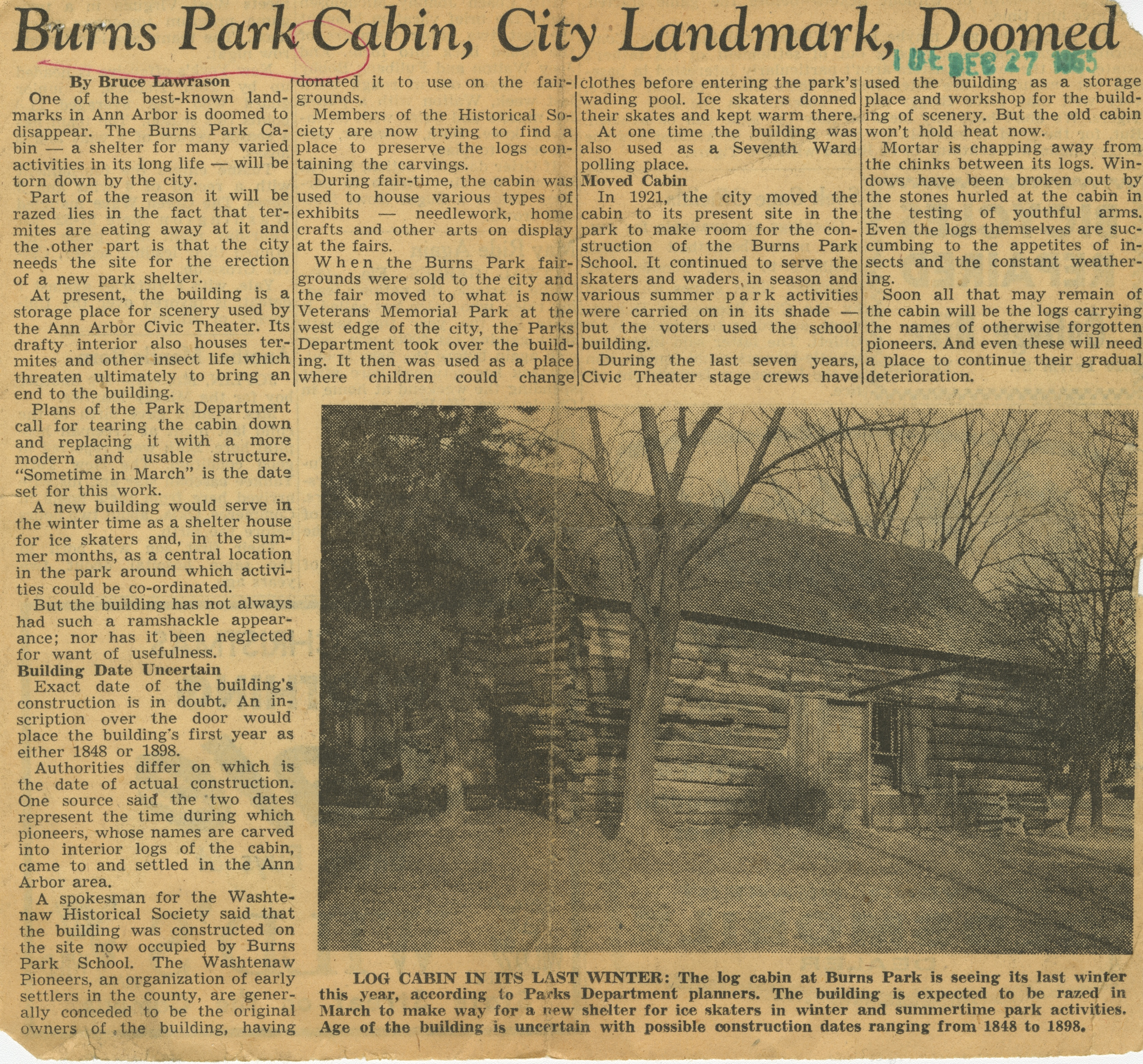 Burns Park Cabin, City Landmark, Doomed image