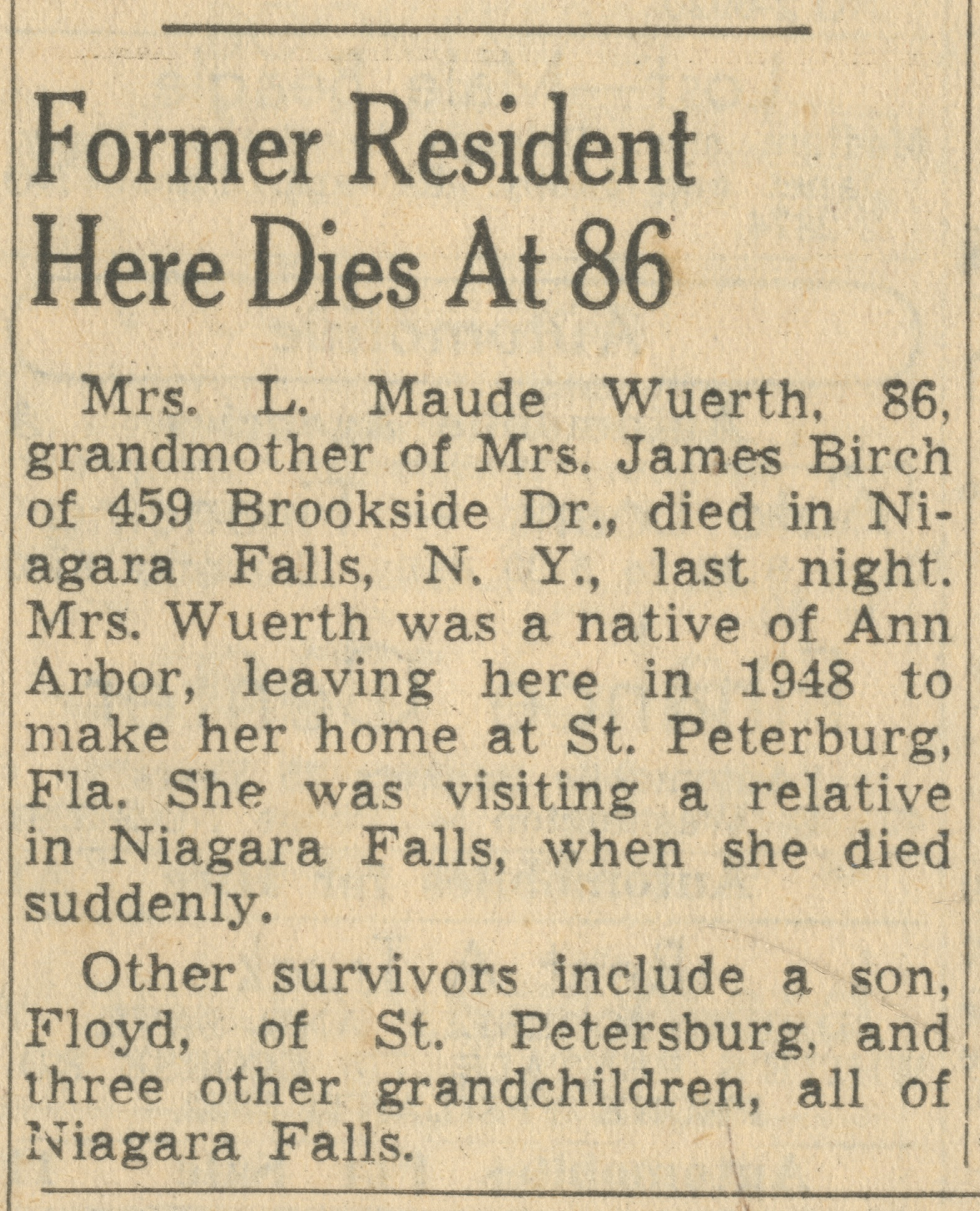 Former Resident Here Dies At 86 image