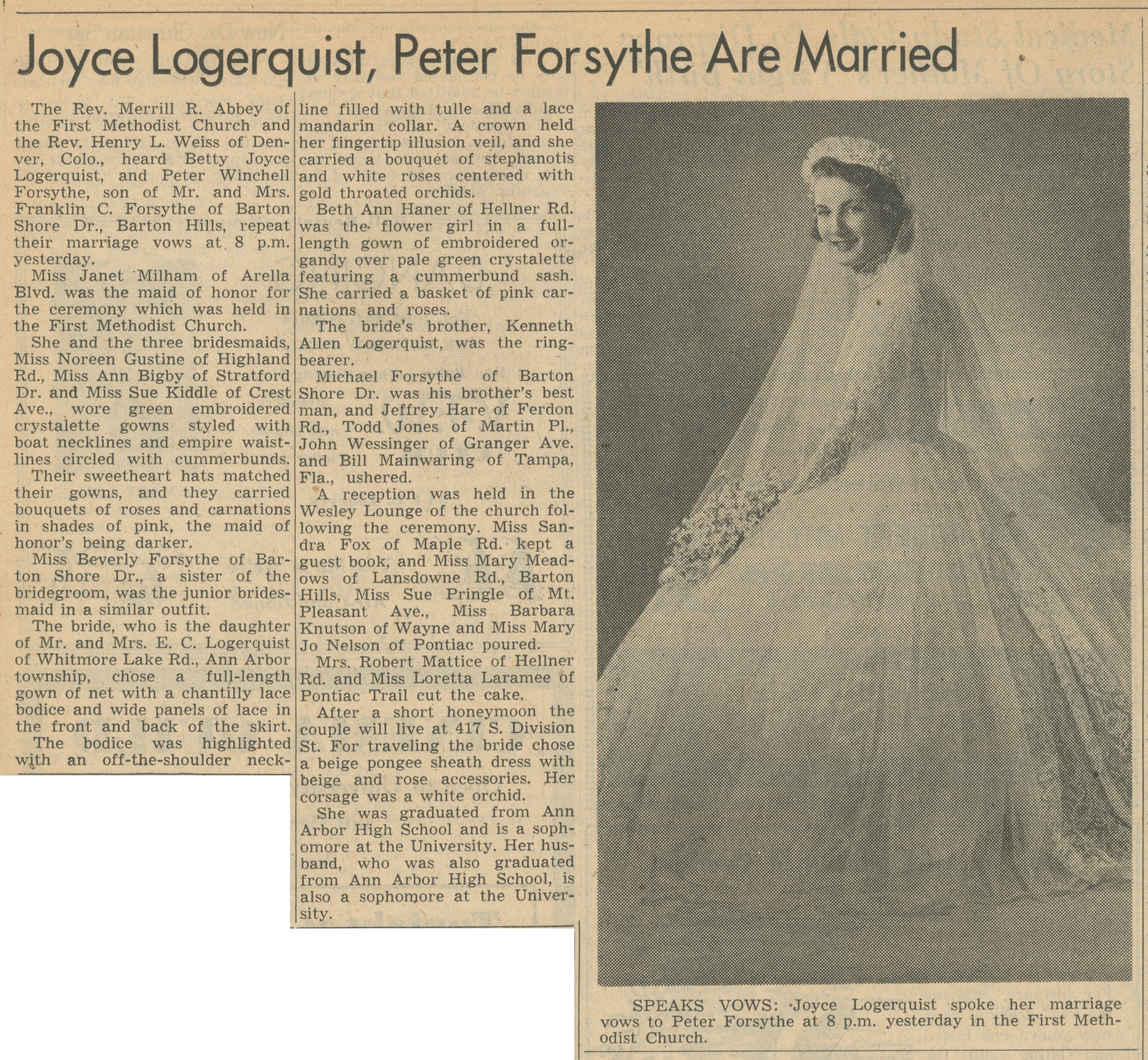 Joyce Logerquist, Peter Forsythe Are Married image