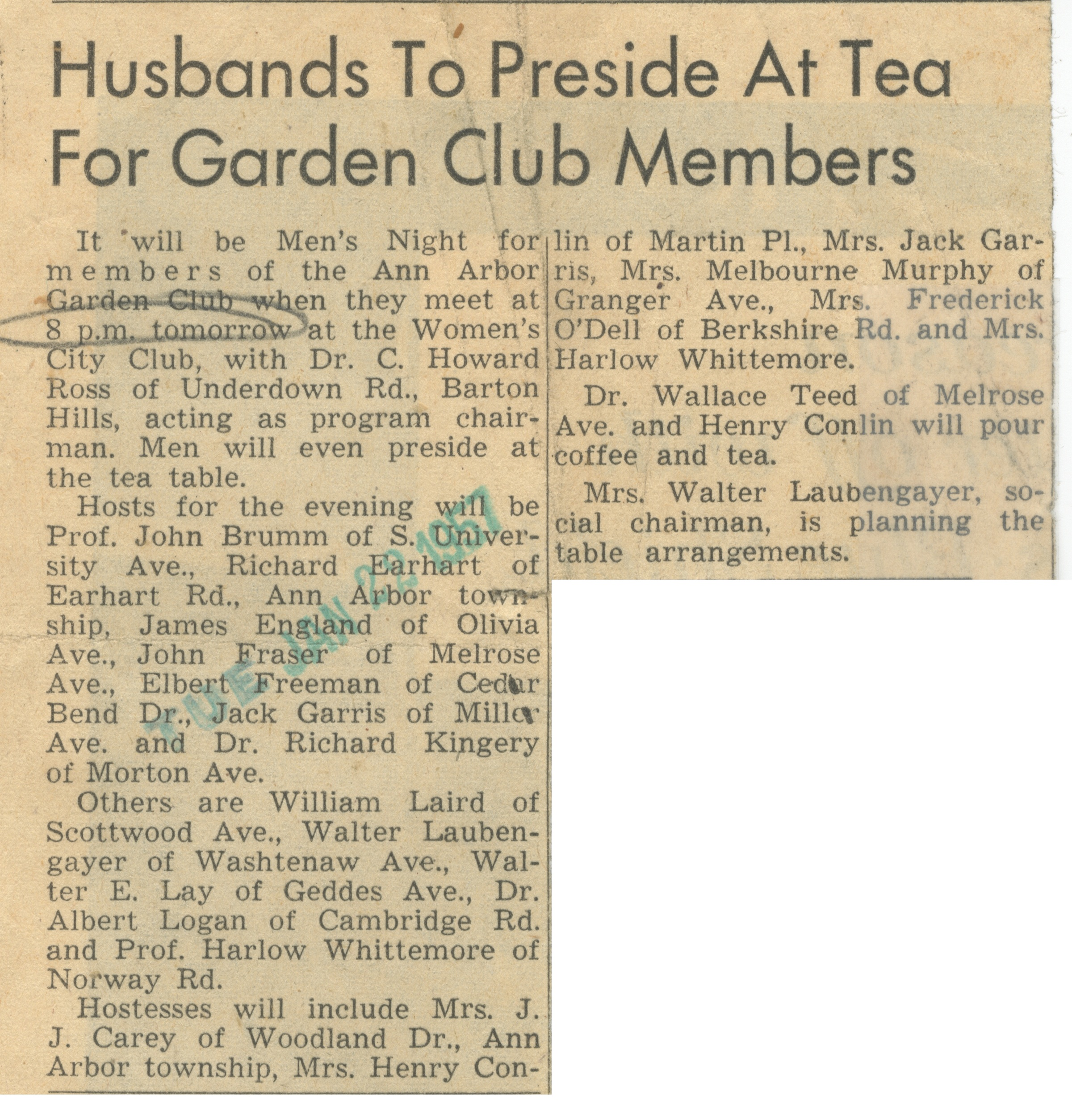 Husbands To Preside At Tea For Garden Club Members image