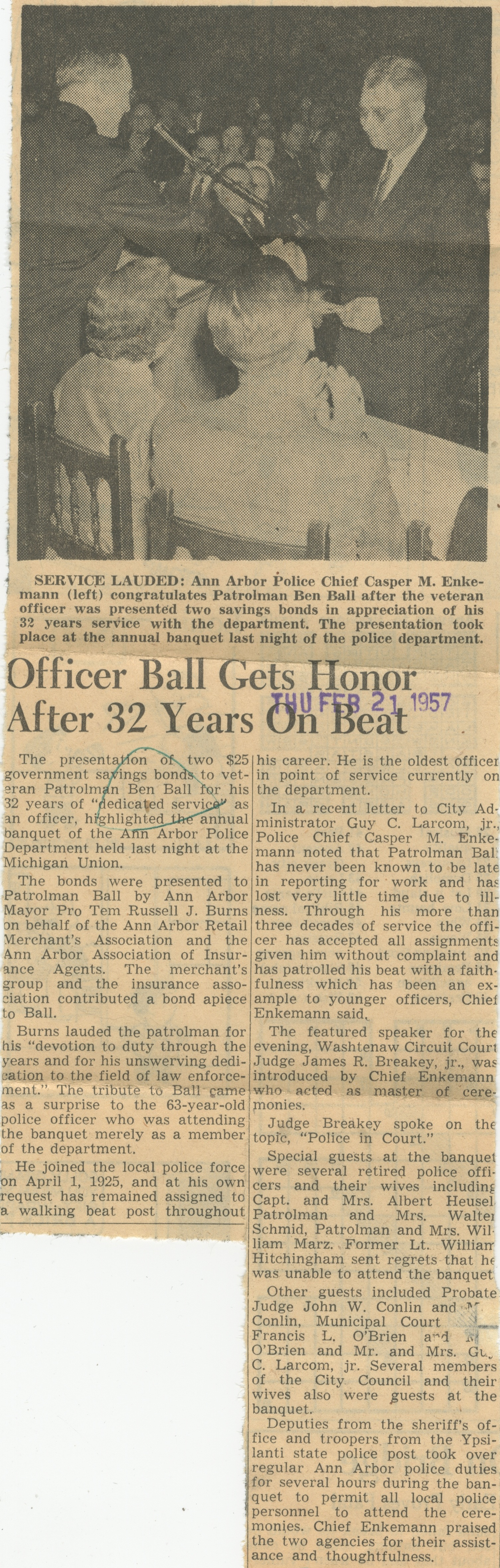 Officer Ball Gets Honor After 32 Years On Beat image