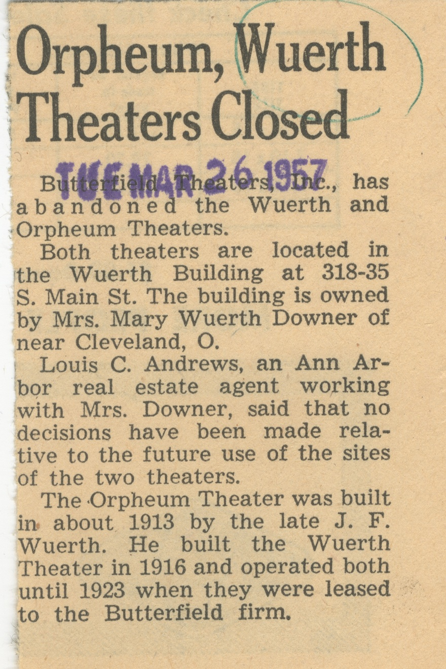 Orpheum, Wuerth Theaters Closed image