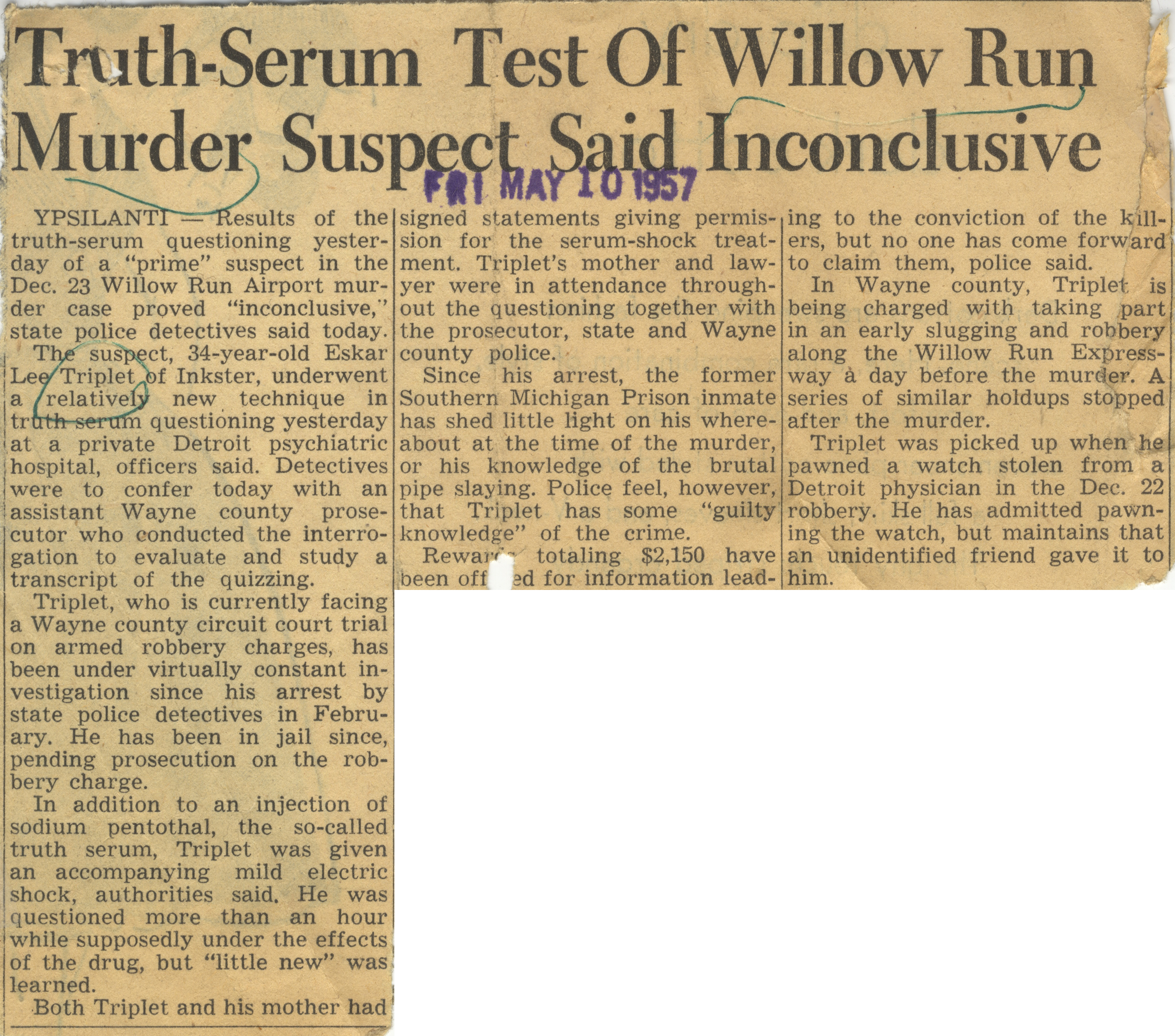 Truth-Serum Test Of Willow Run Murder Suspect Said Inconclusive image