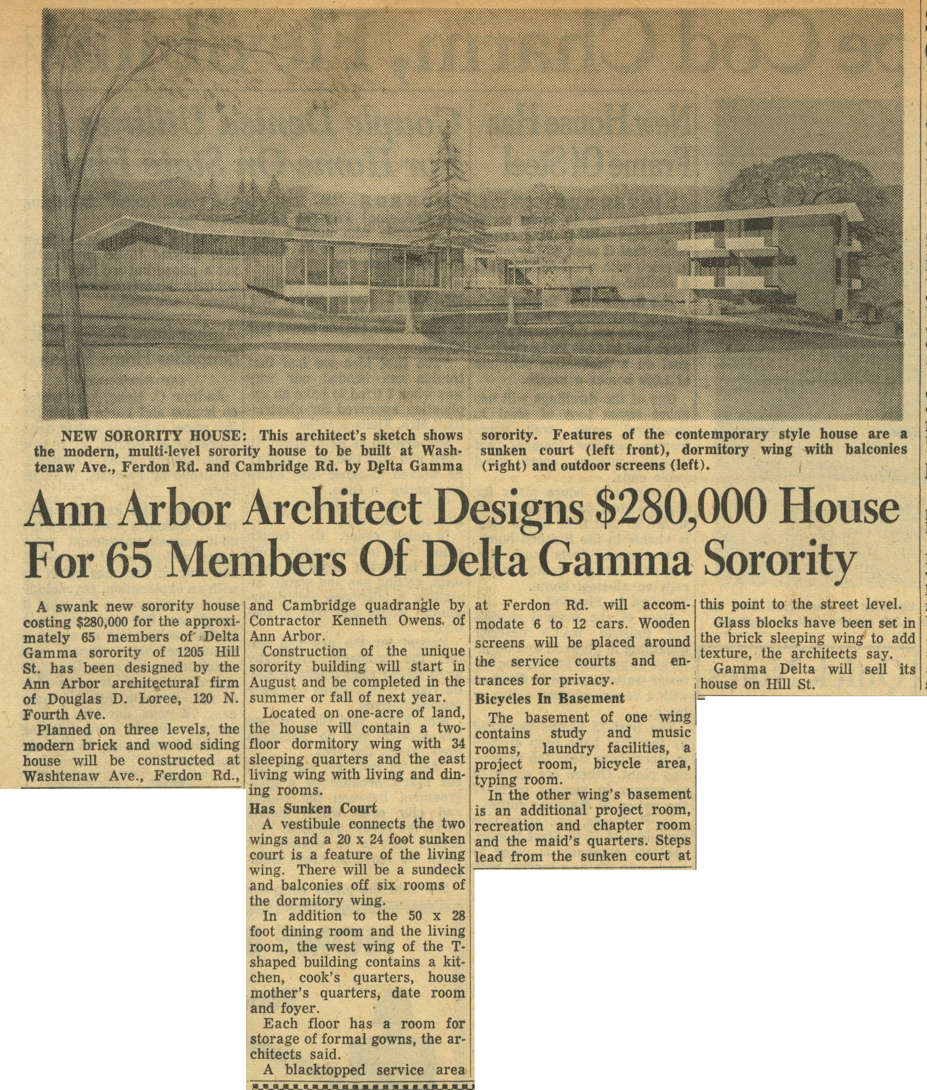 Ann Arbor Architect Designs $280,000 House For 65 Members Of Delta Gamma Sorority image