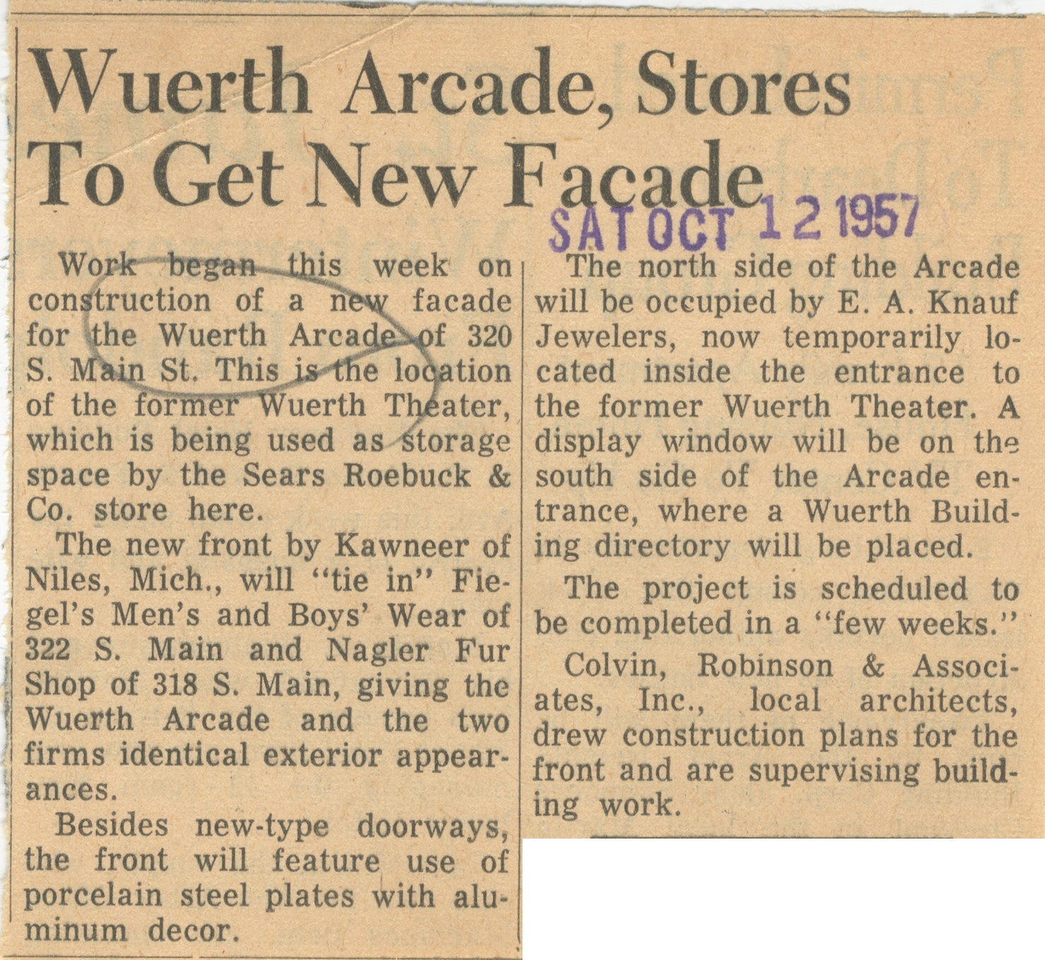 Wuerth Arcade, Stores To Get New Facade image