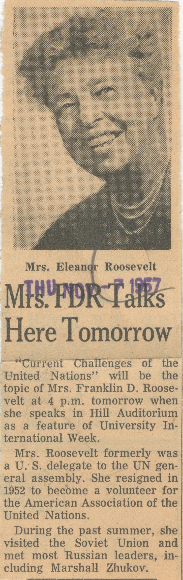 Mrs. FDR Talks Here Tomorrow image