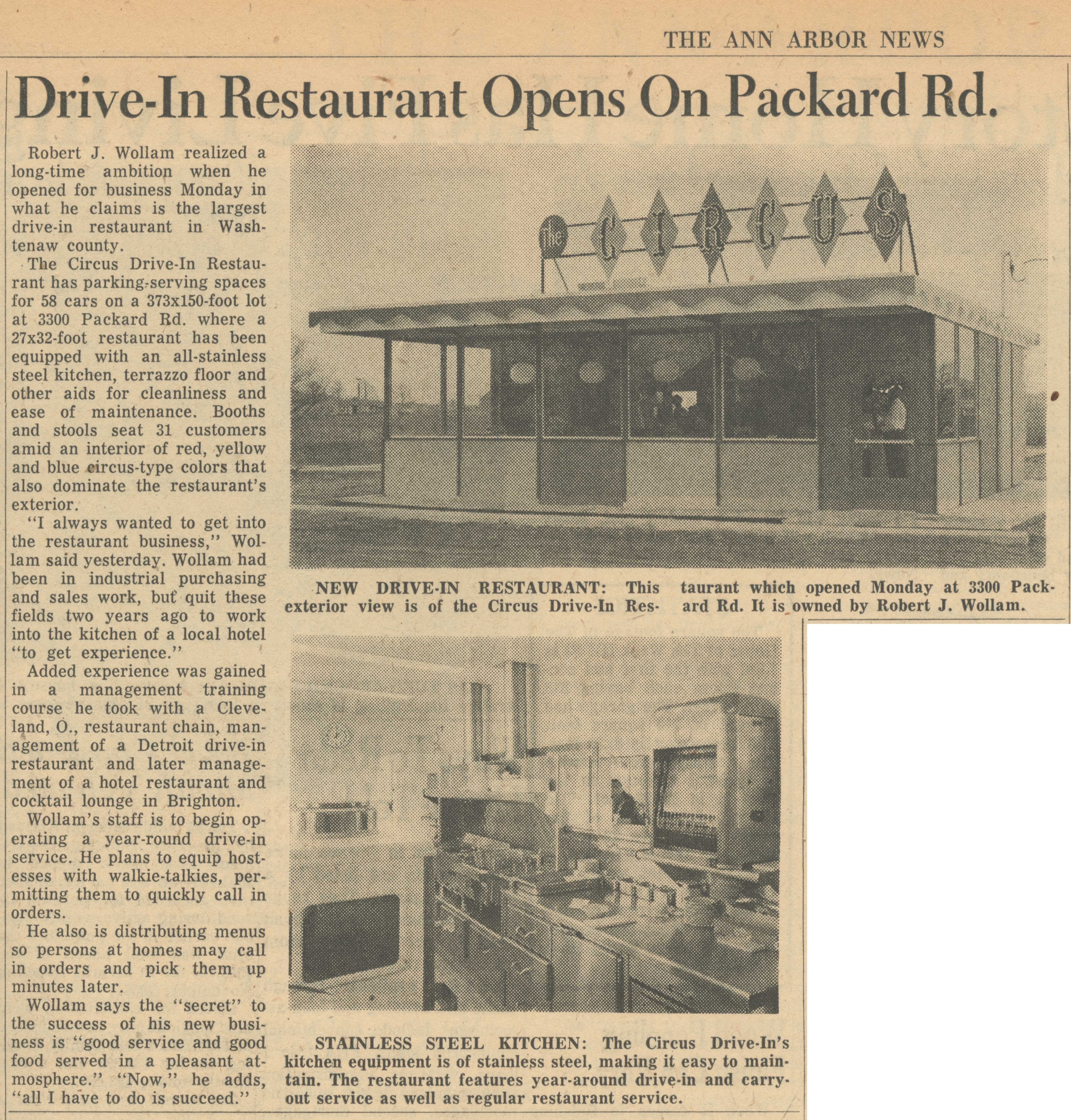 Drive-In Restaurant Opens On Packard Rd. image