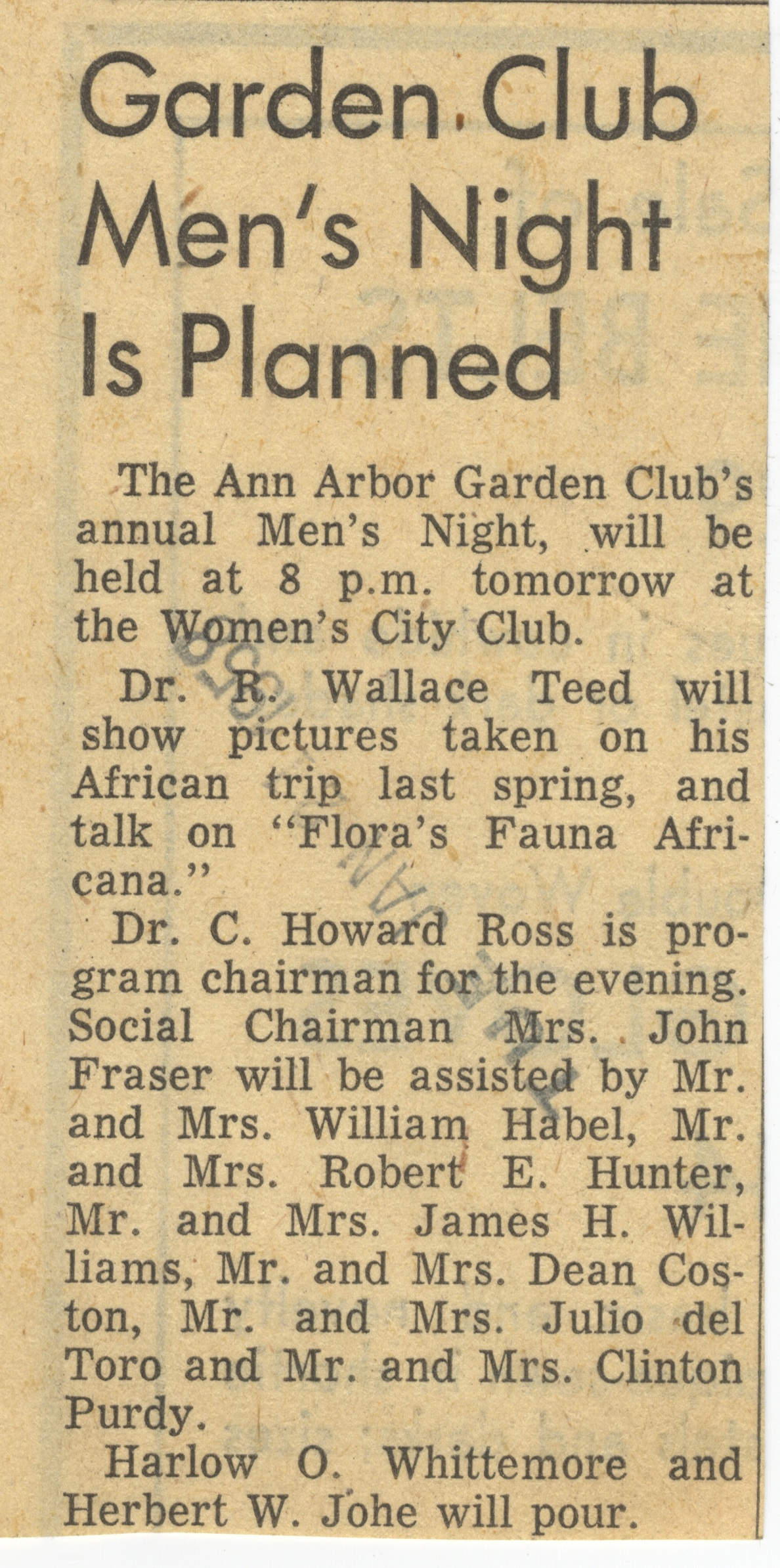Garden Club Men's Night Is Planned image