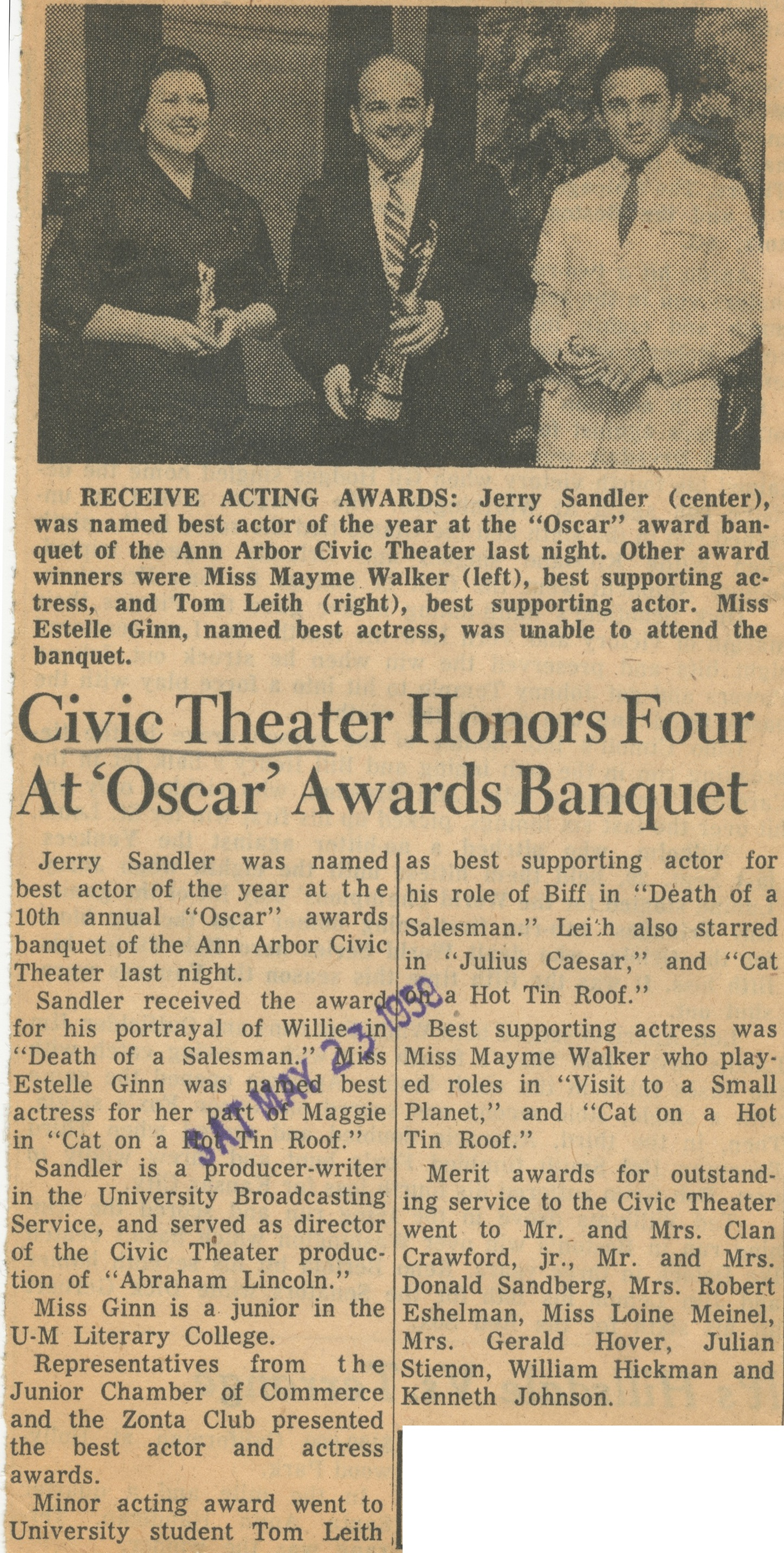 Civic Theater Honors Four At 'Oscar' Awards Banquet image