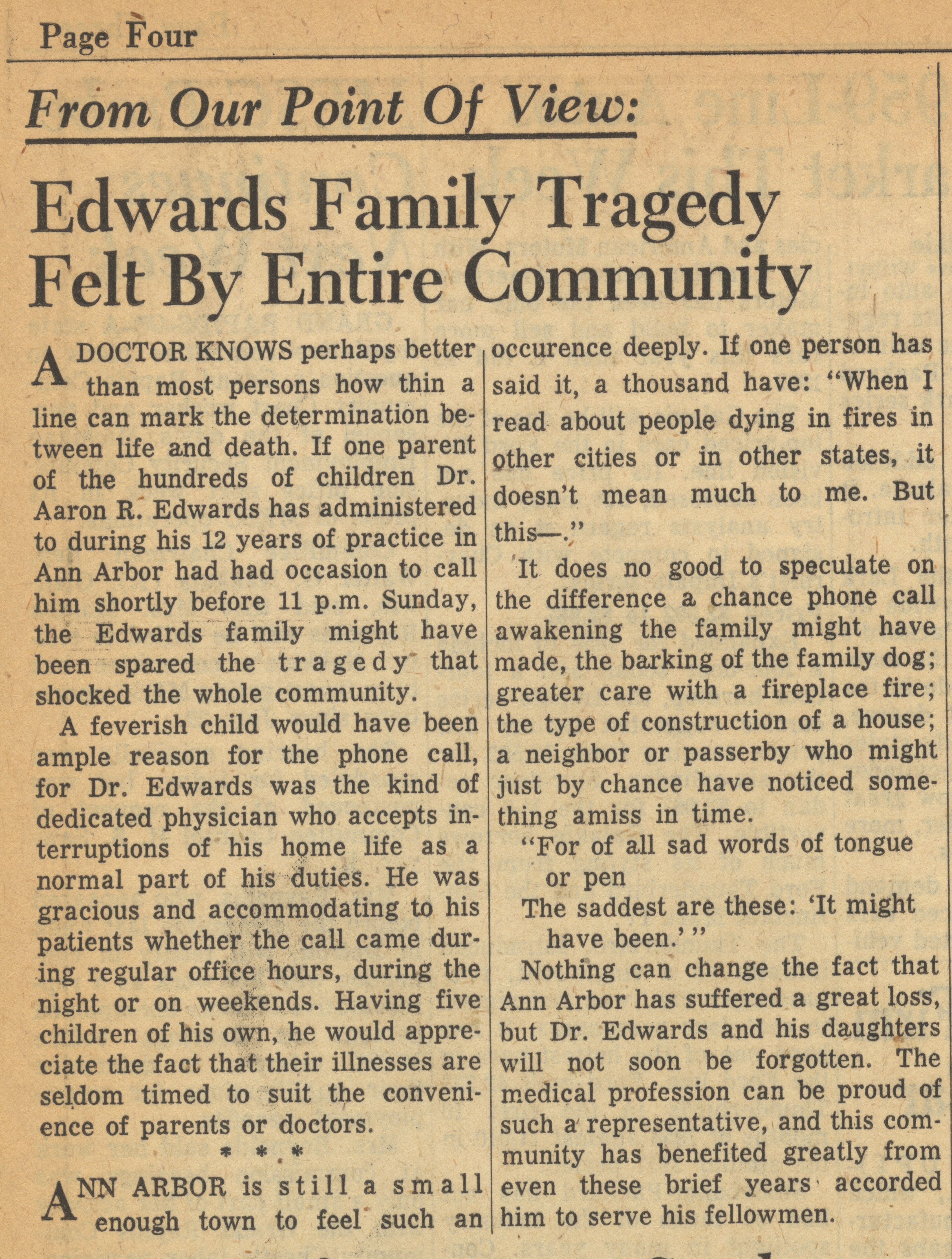 From Our Point of View: Edwards Family Tragedy Felt By Entire Community image