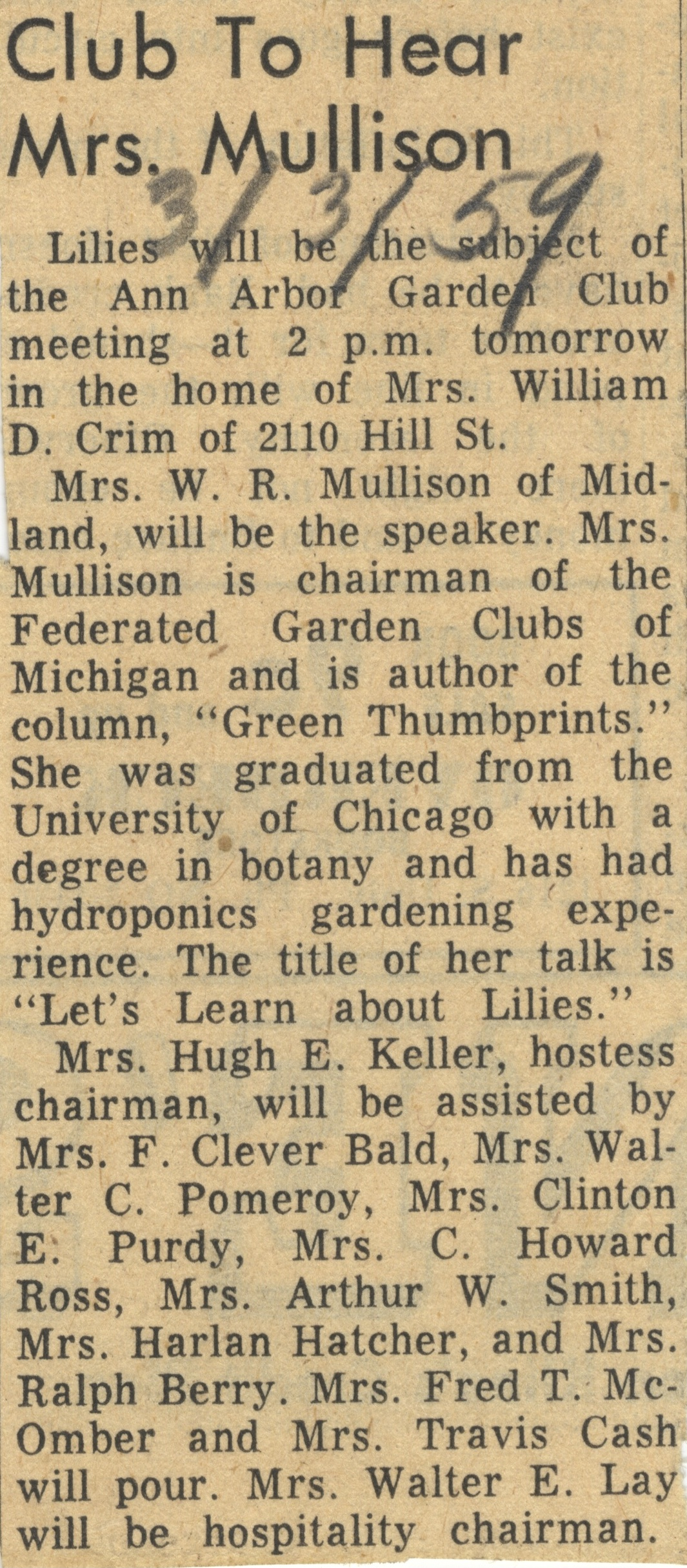 Club To Hear Mrs. Mullison image