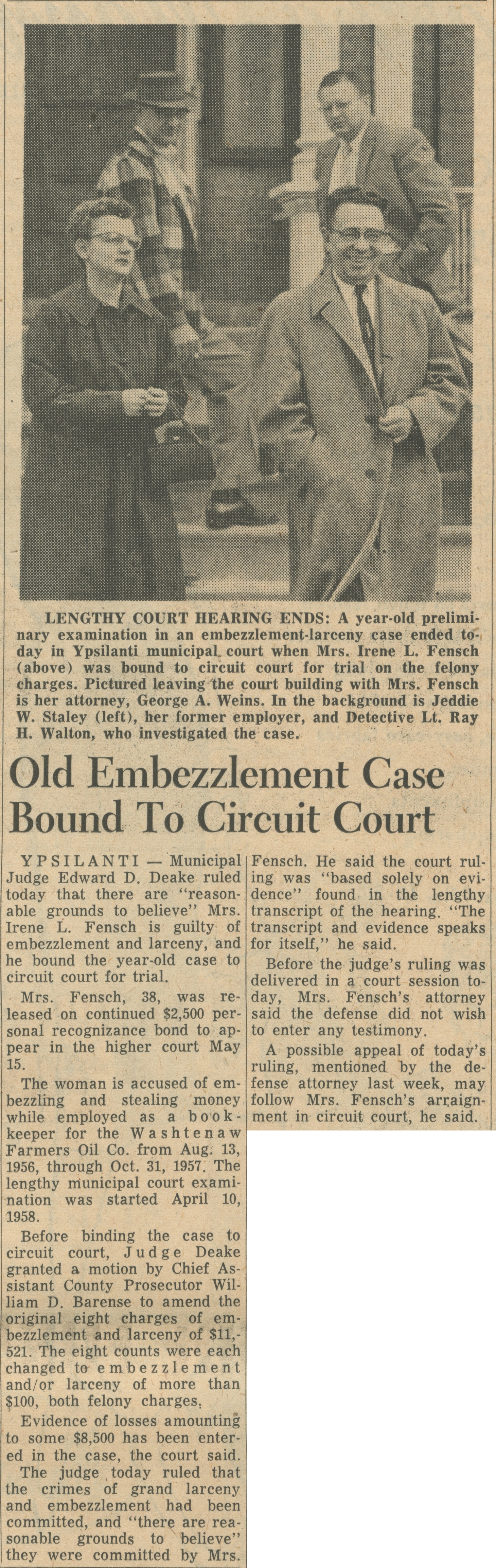 Old Embezzlement Case Bound To Circuit Court image