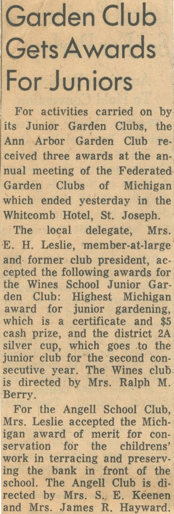 Garden Club Gets Awards For Juniors image