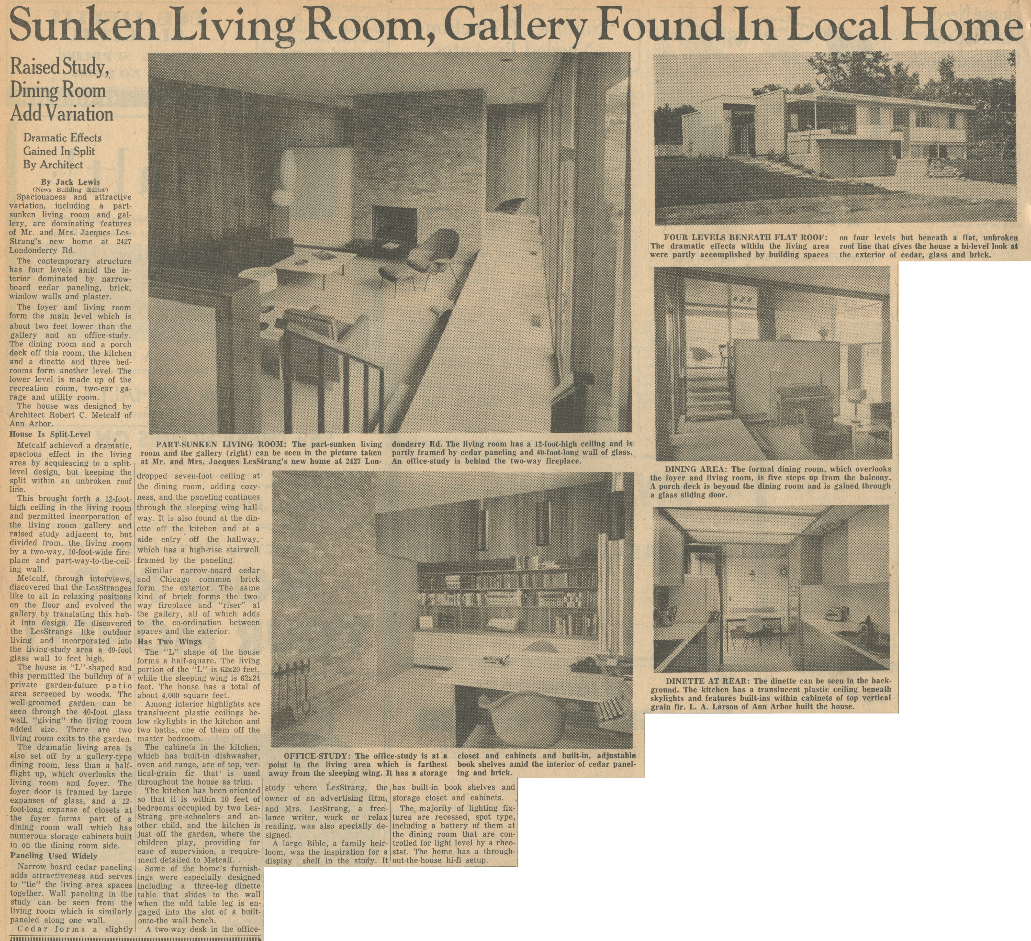 Sunken Living Room, Gallery Found In Local Home image