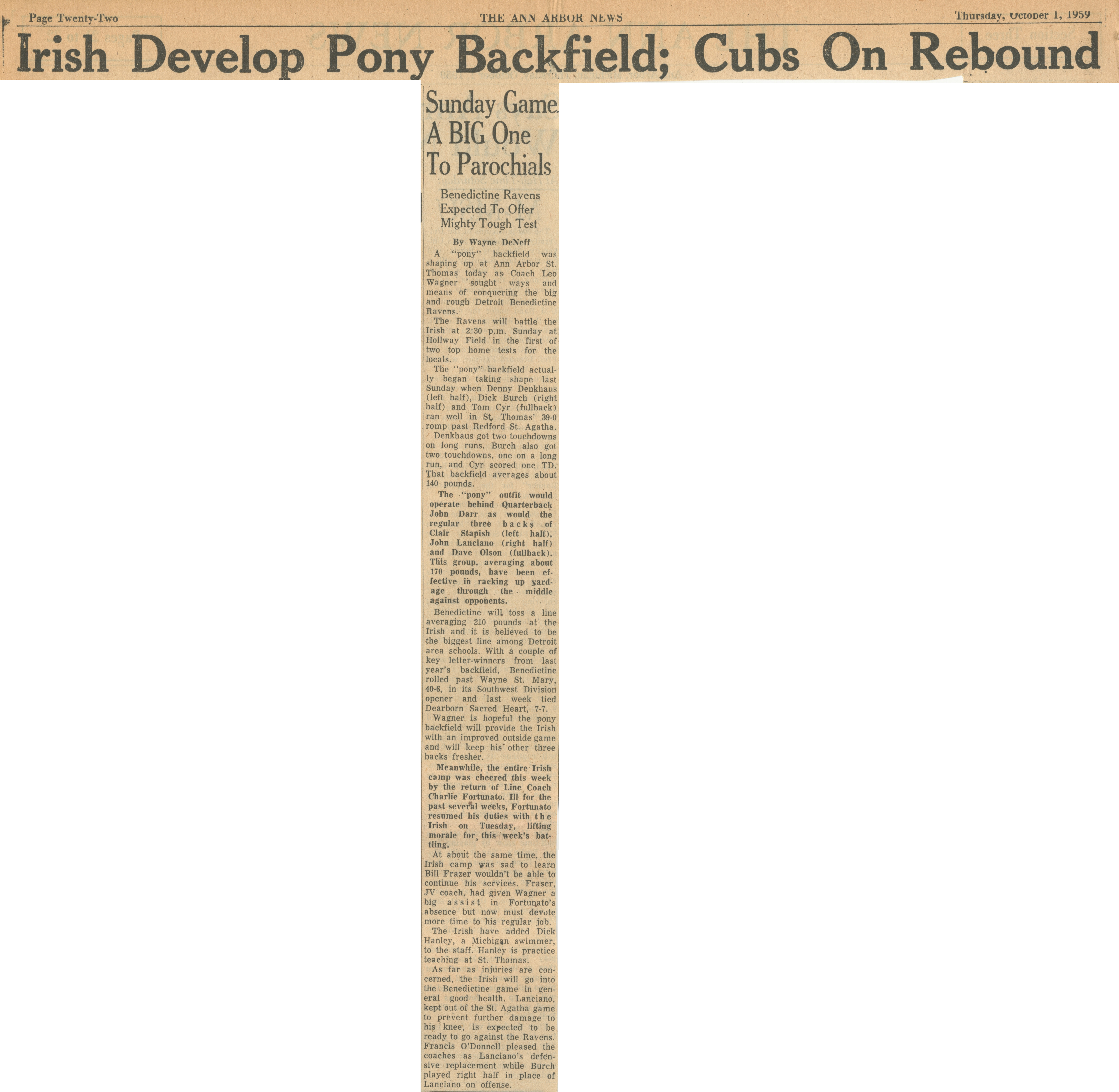 Irish Develop Pony Backfield; Cubs on Rebound image