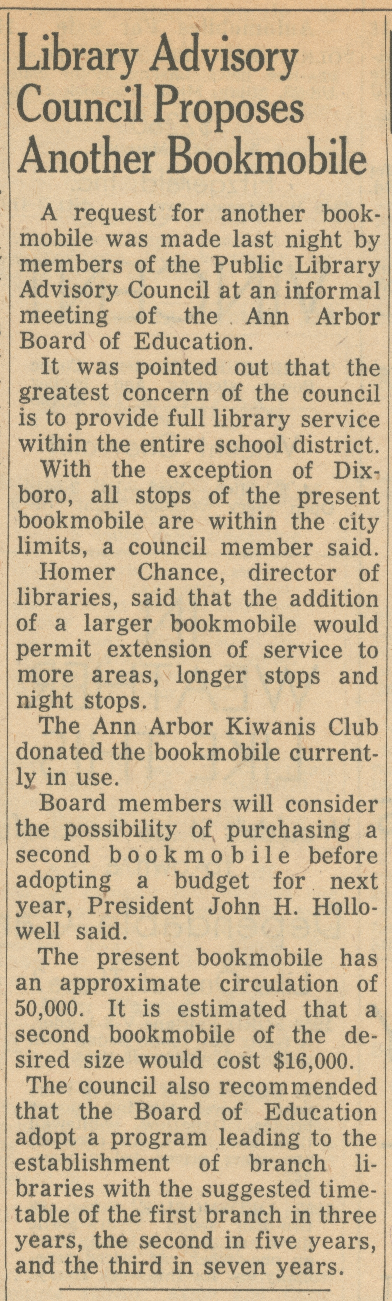 Library Advisory Council Proposes Another Bookmobile image
