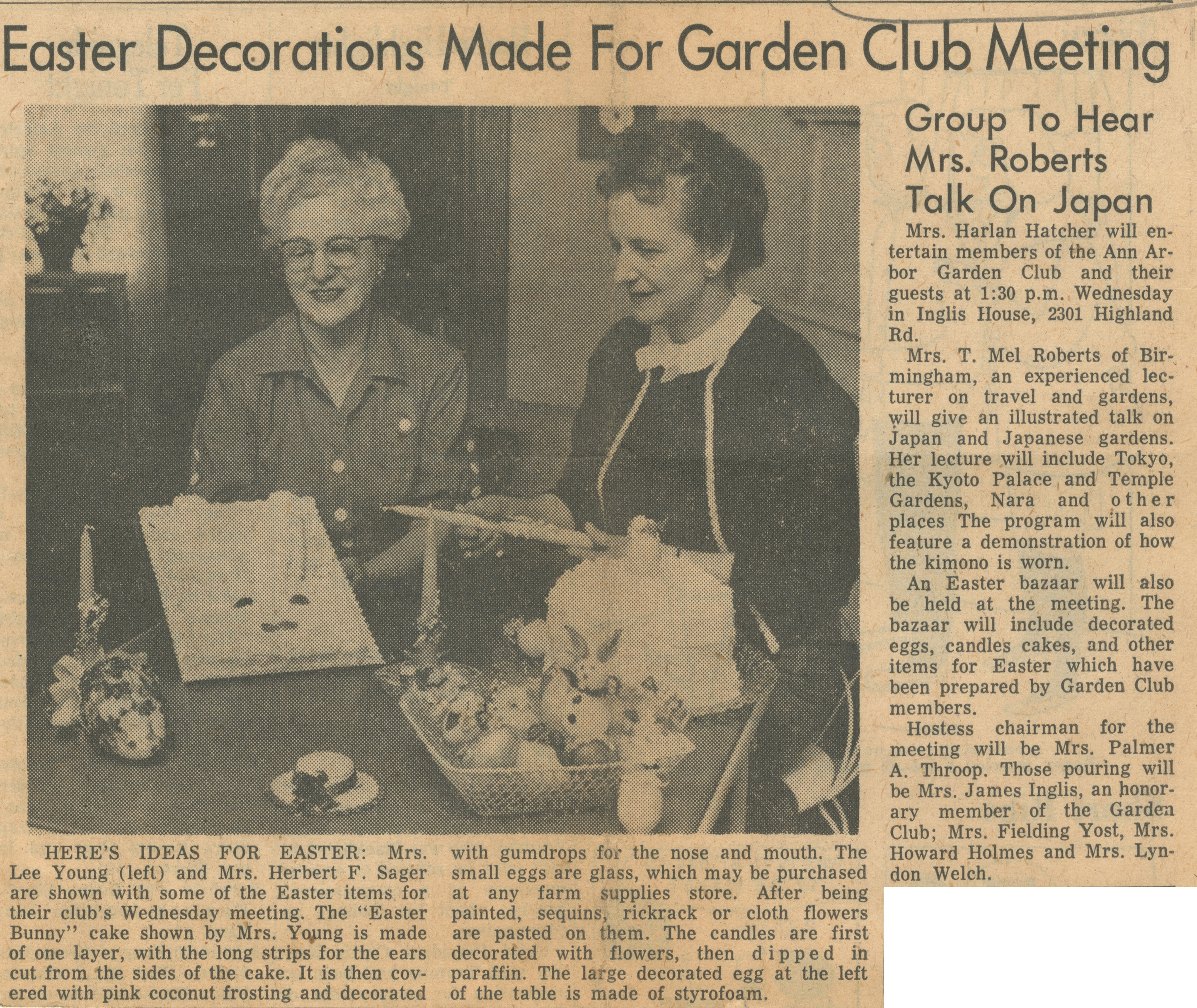 Easter Decorations Made For Garden Club Meeting - Group To Hear Mrs. Roberts Talk On Japan image